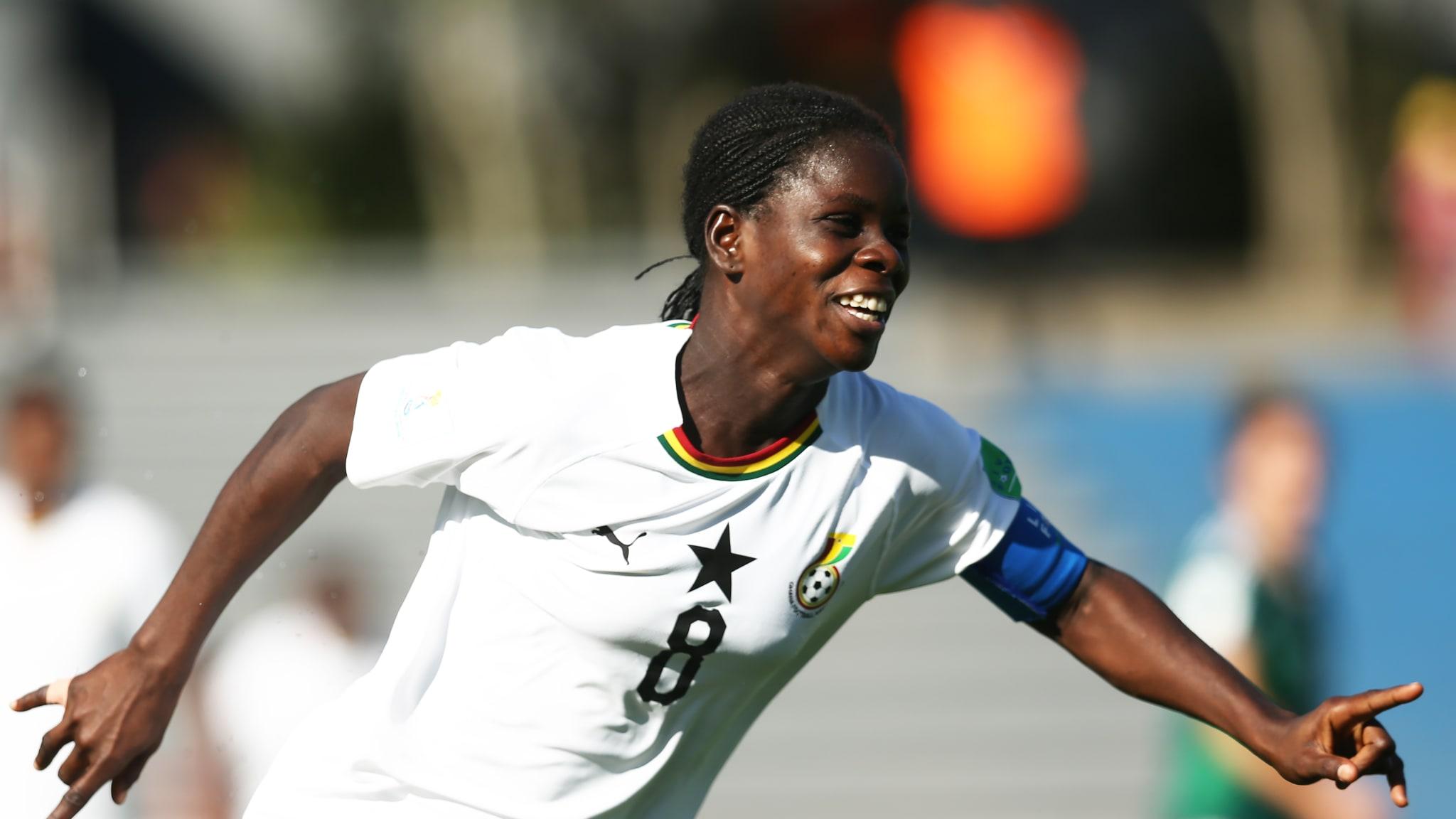 Mukarama Abdulai of Ghana celebrates after scoring a goal