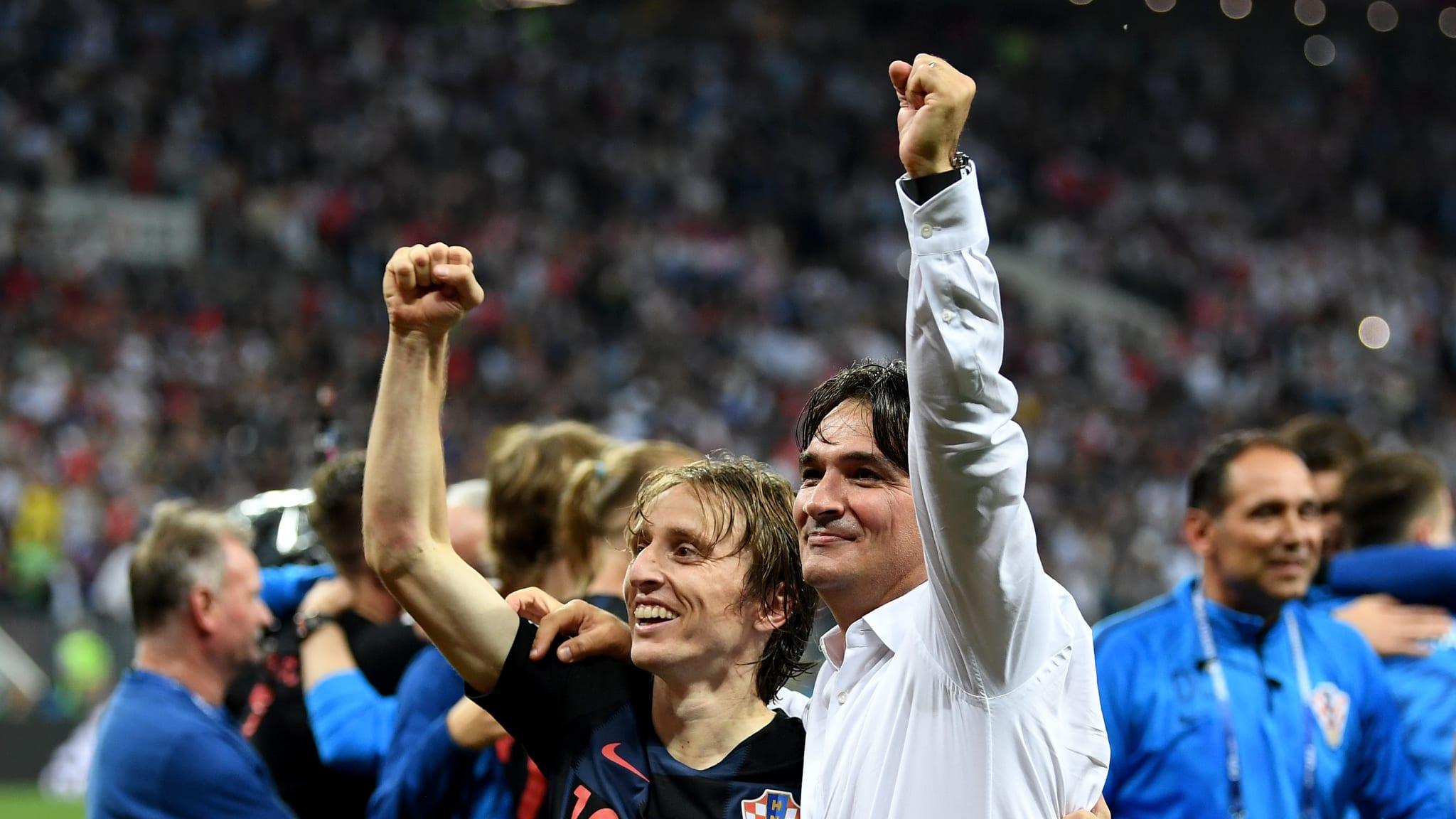 Zlatko Dalic and Luka Modric of Croatia celebrate