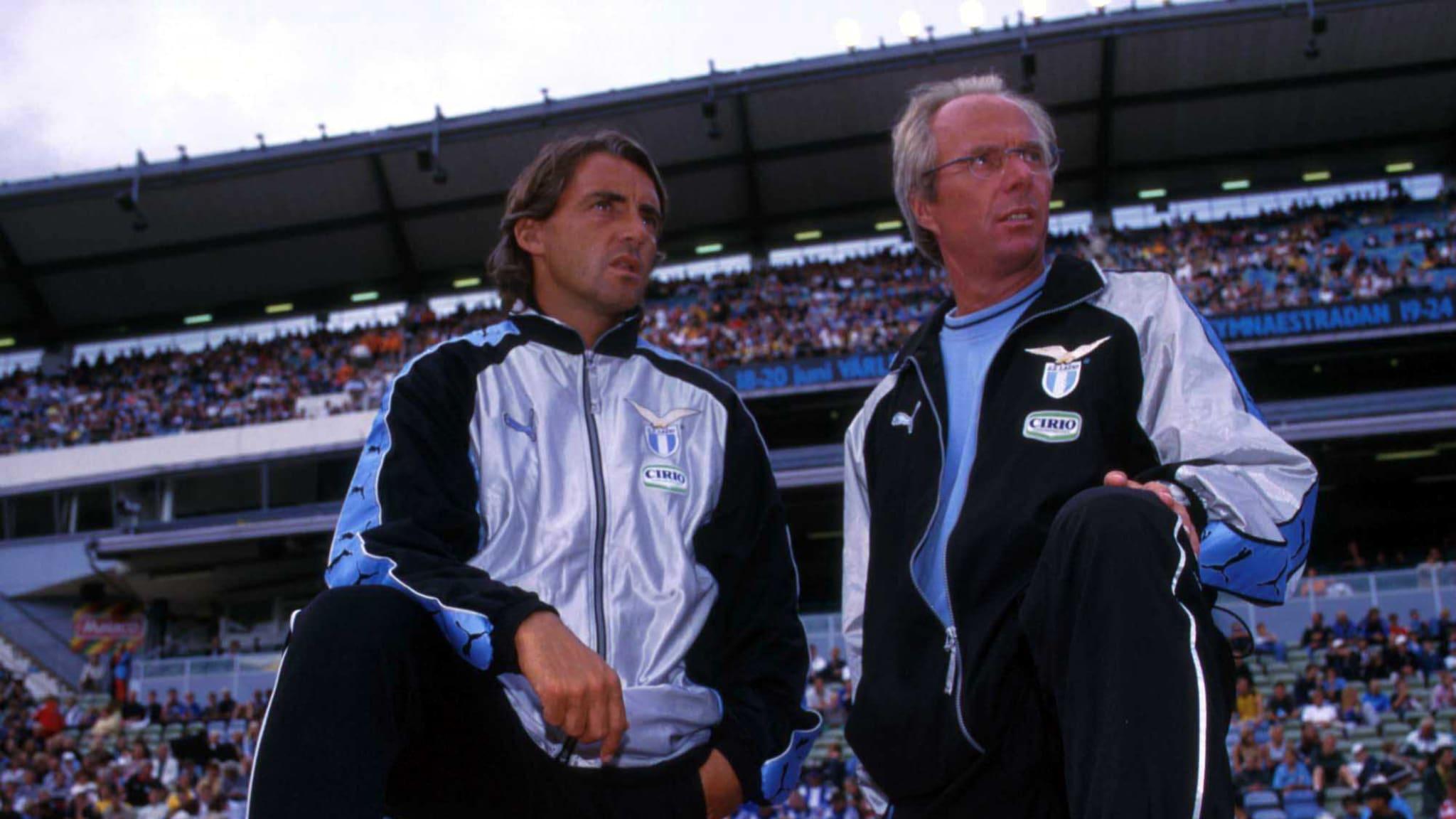 Sven Goran Eriksson of Lazio with Roberto Mancini.