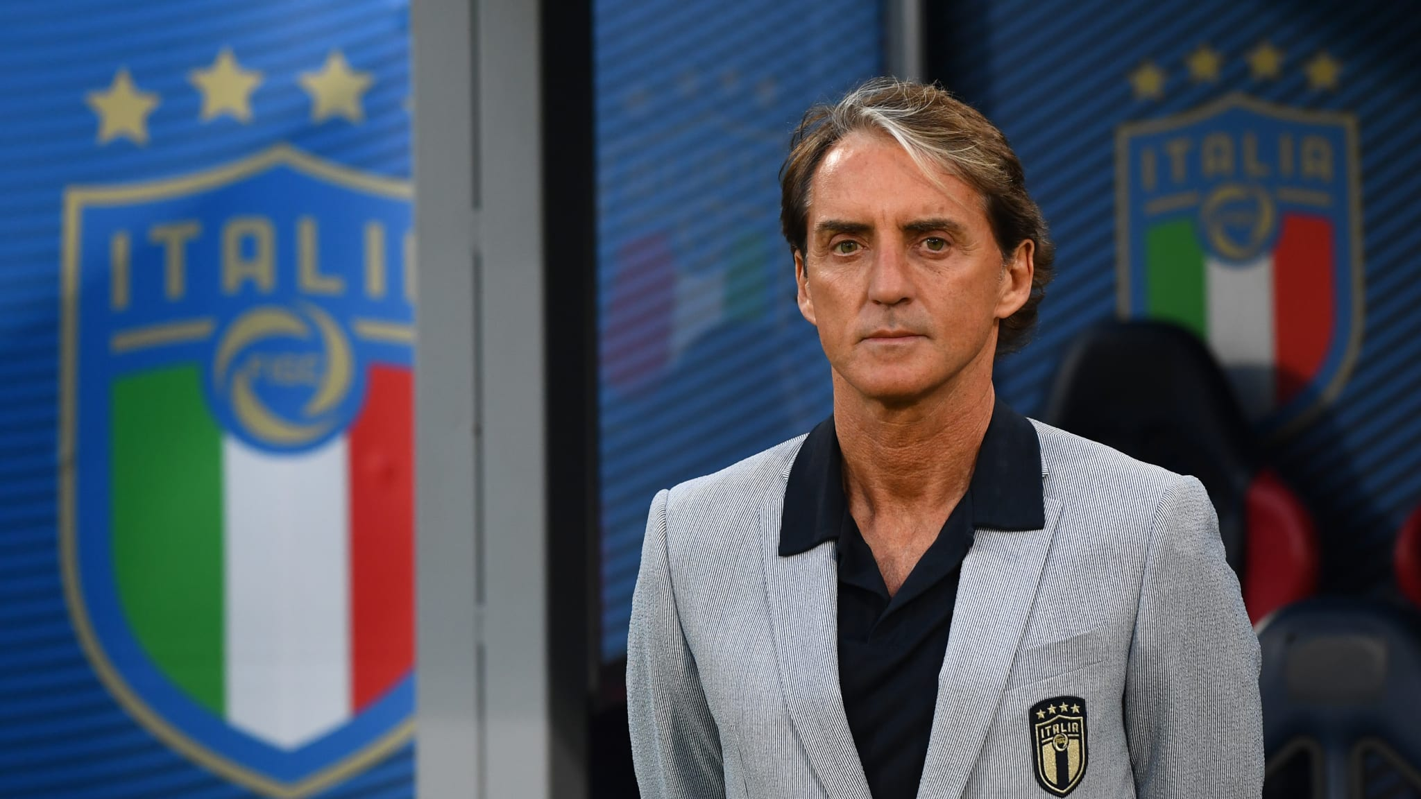 Head coach Italy Roberto Mancini looks on during the international friendly match between Italy and Czech Republic at on June 04, 2021 in Bologna, Italy.