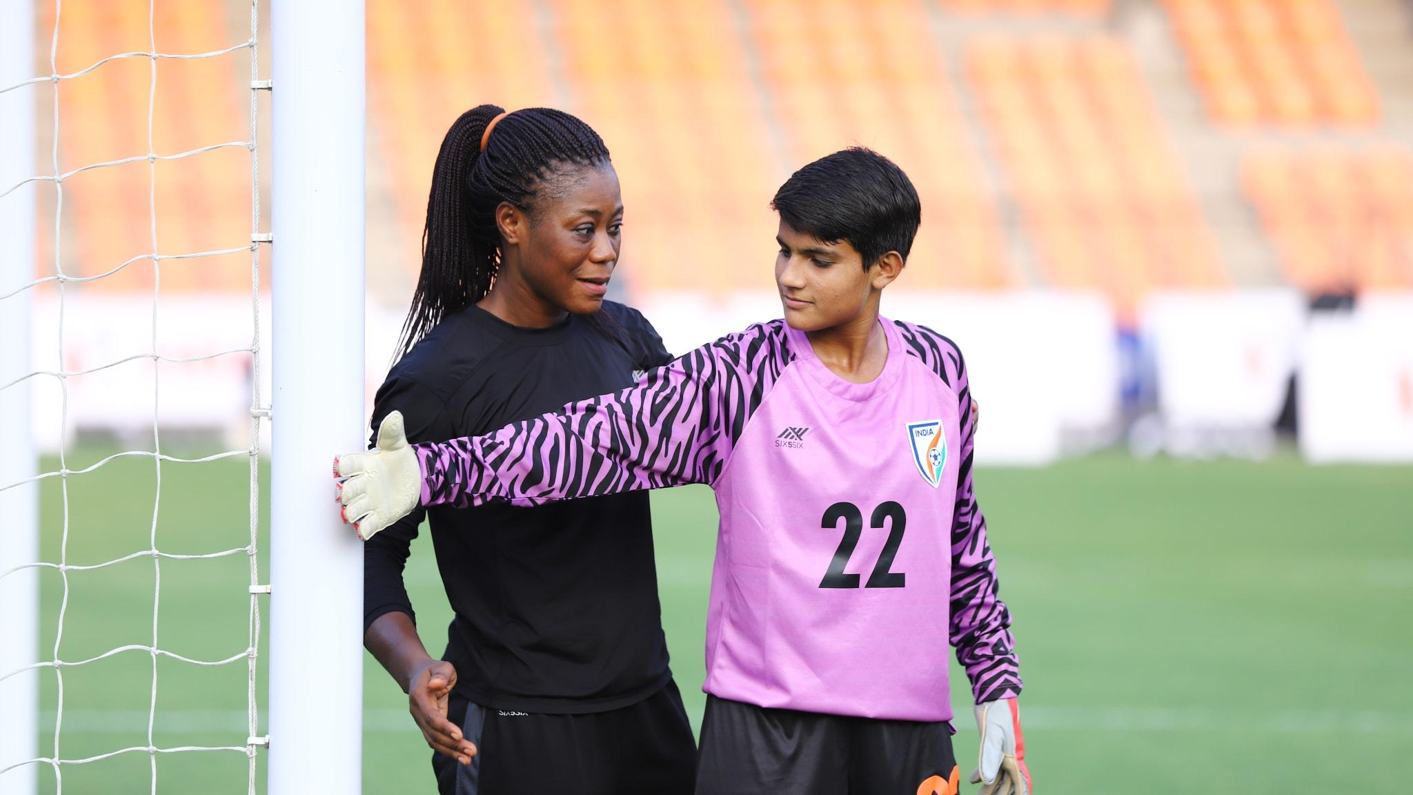 Precious Dede coaches India's young goalkeepers.