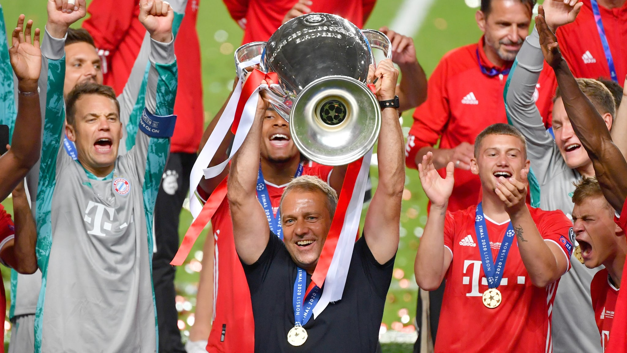 FC Bayern München coach Hansi Flick with the UEFA Champions League trophy 2020