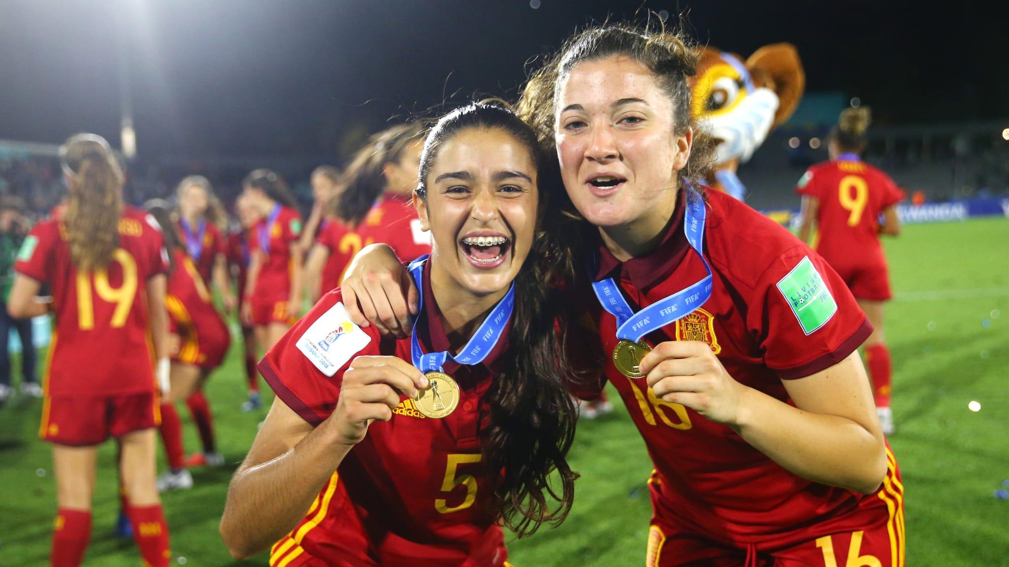 Jana Fernandez of Spain and Paula Arana celebrate after winning the FIFA U-17 Women's World Cup