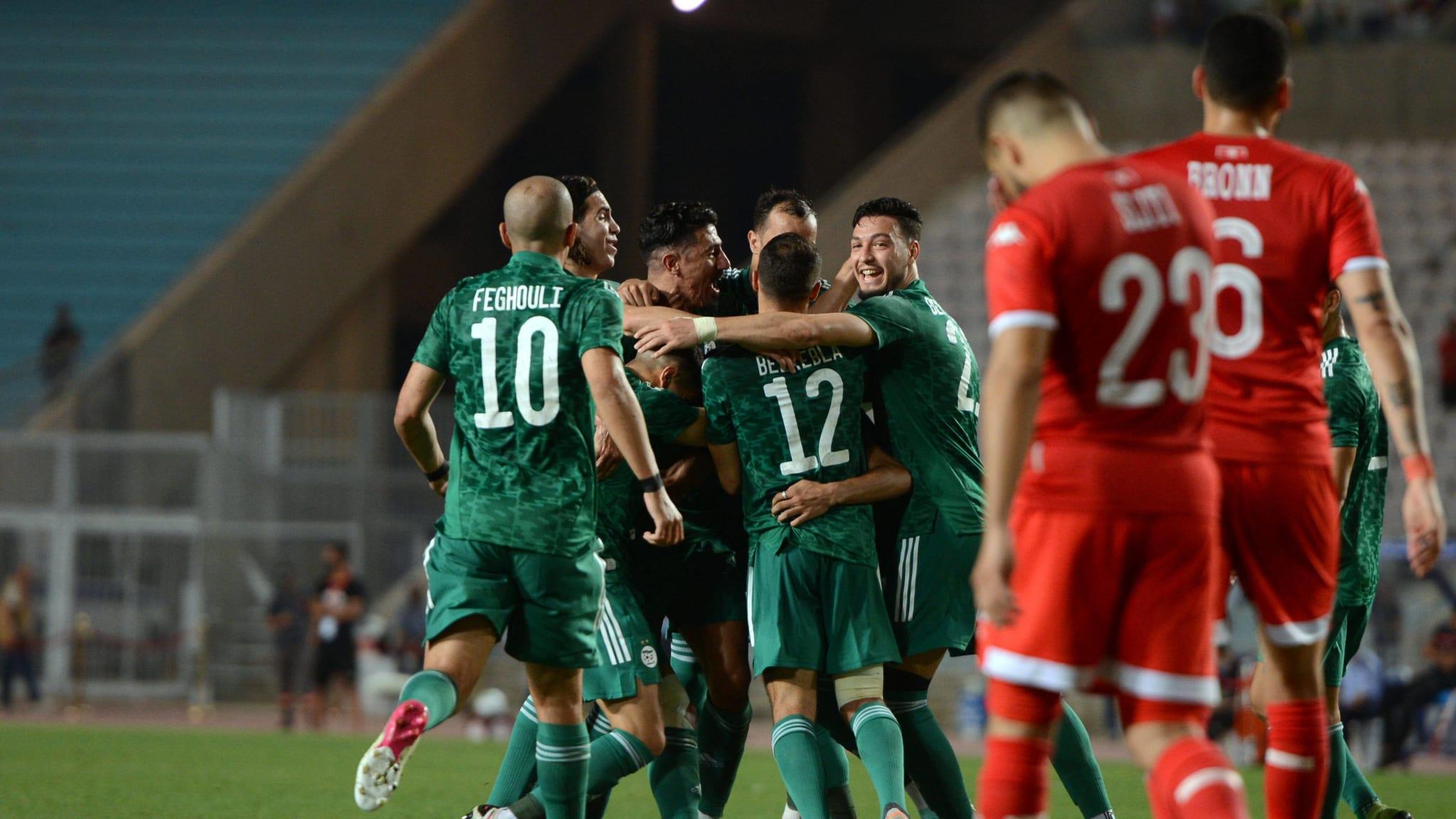 Riyad Mahrez(7) of Algeria celebrates his goal against Tunisia
