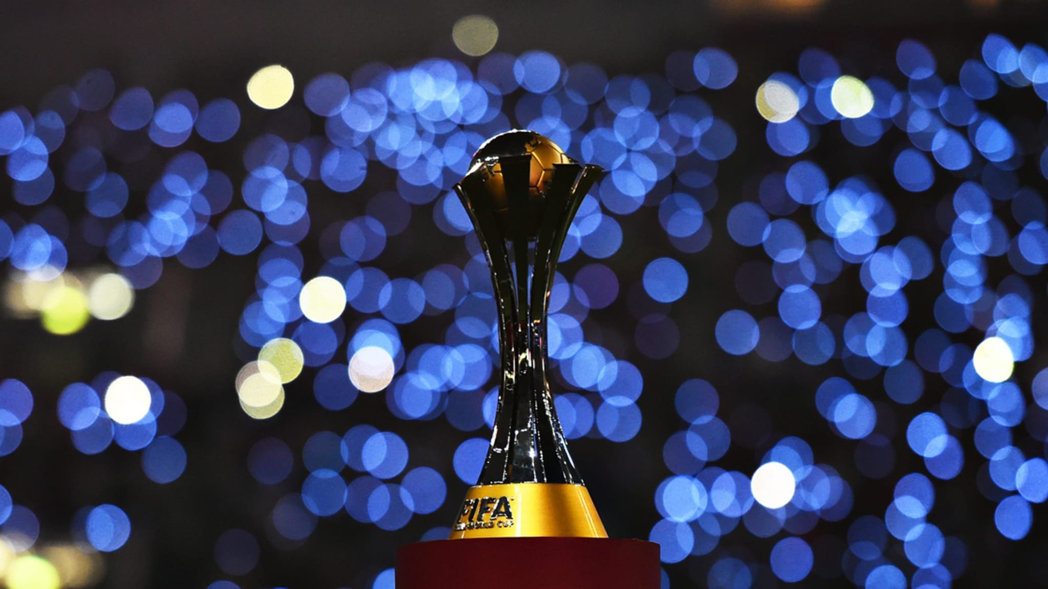The FIFA Club World Cup trophy is pictured
