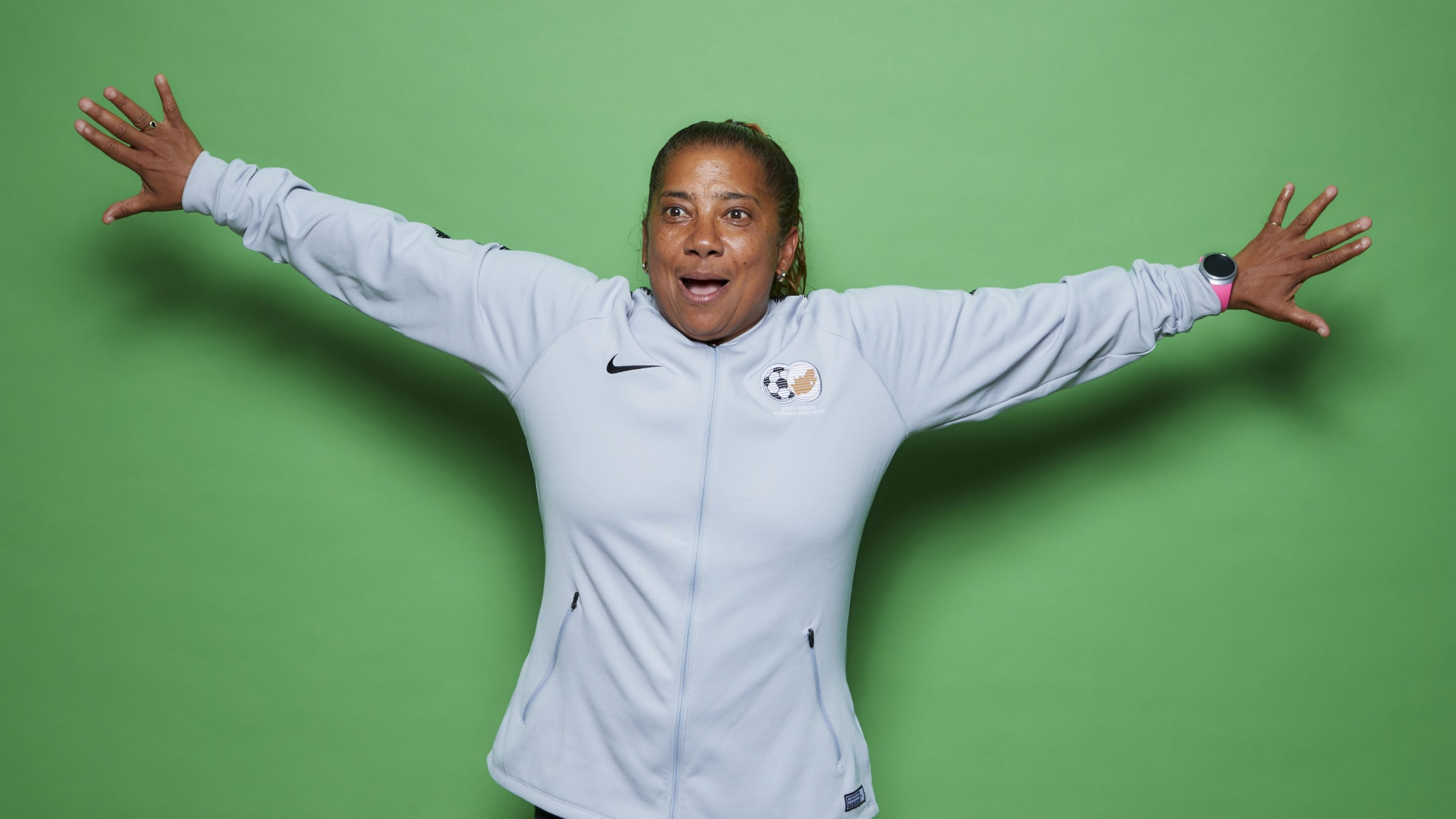 Desiree Ellis, Head Coach of South Africa poses for a portrait during the official FIFA Women's World Cup 2019 portrait session at Royal Barriere Hotel on June 05, 2019 in Le Havre, France.