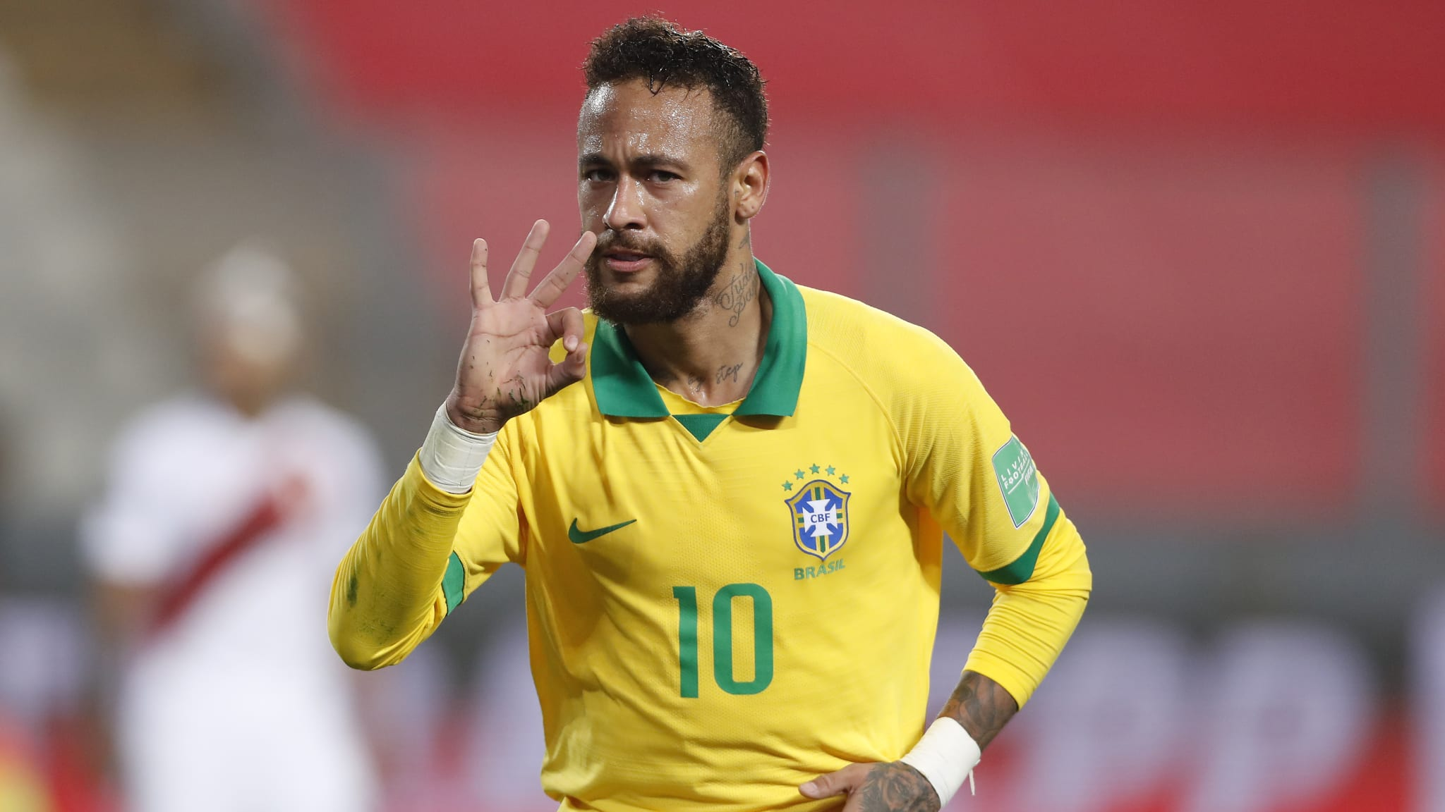 Neymar Jr. of Brazil celebrates after scoring the fourth goal of his team
