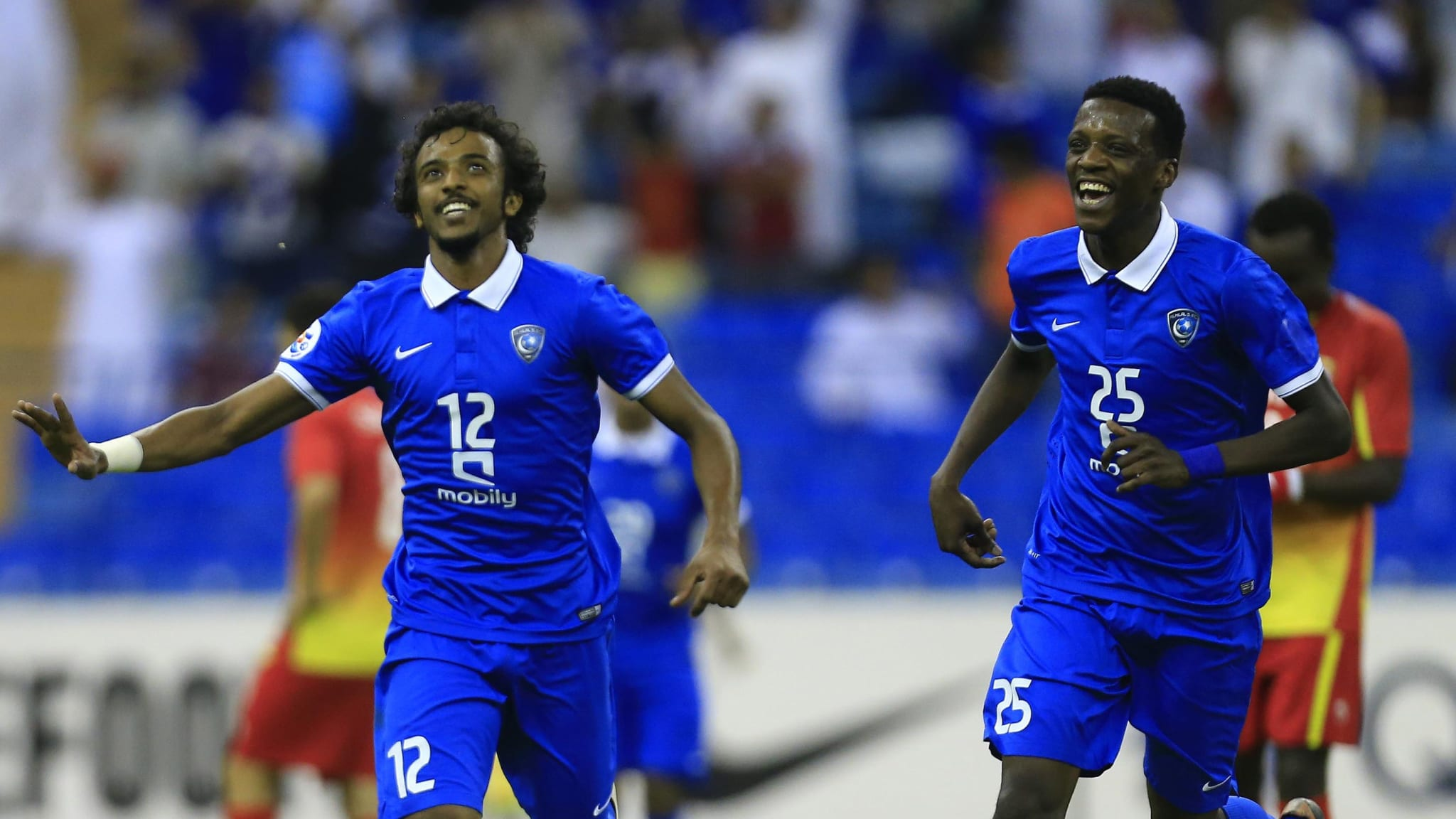 Al-Hilal's defender Yasser Al-Shahrani reacts after scoring against Foolad