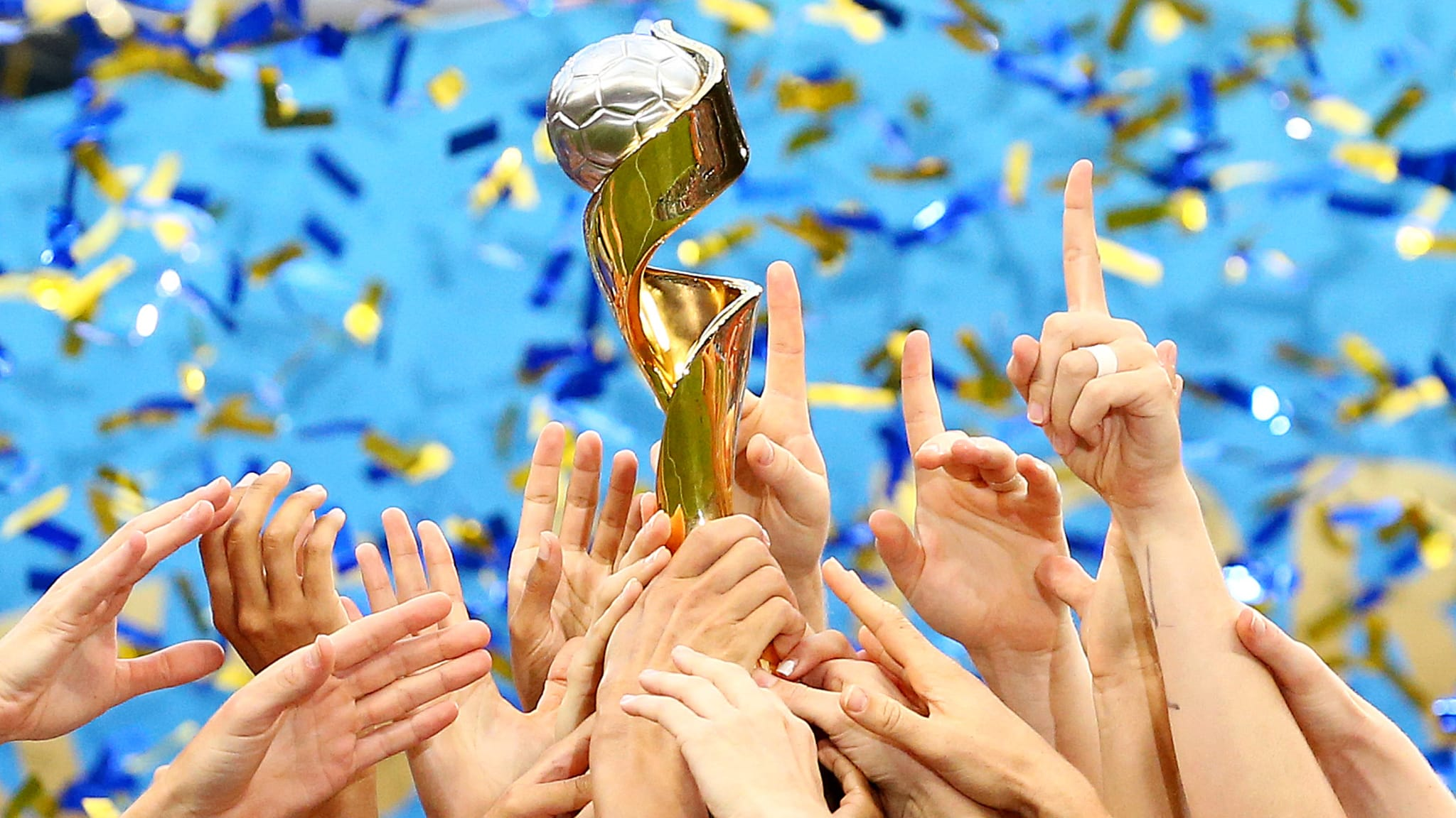 A close up of the Women's World Cup Trophy