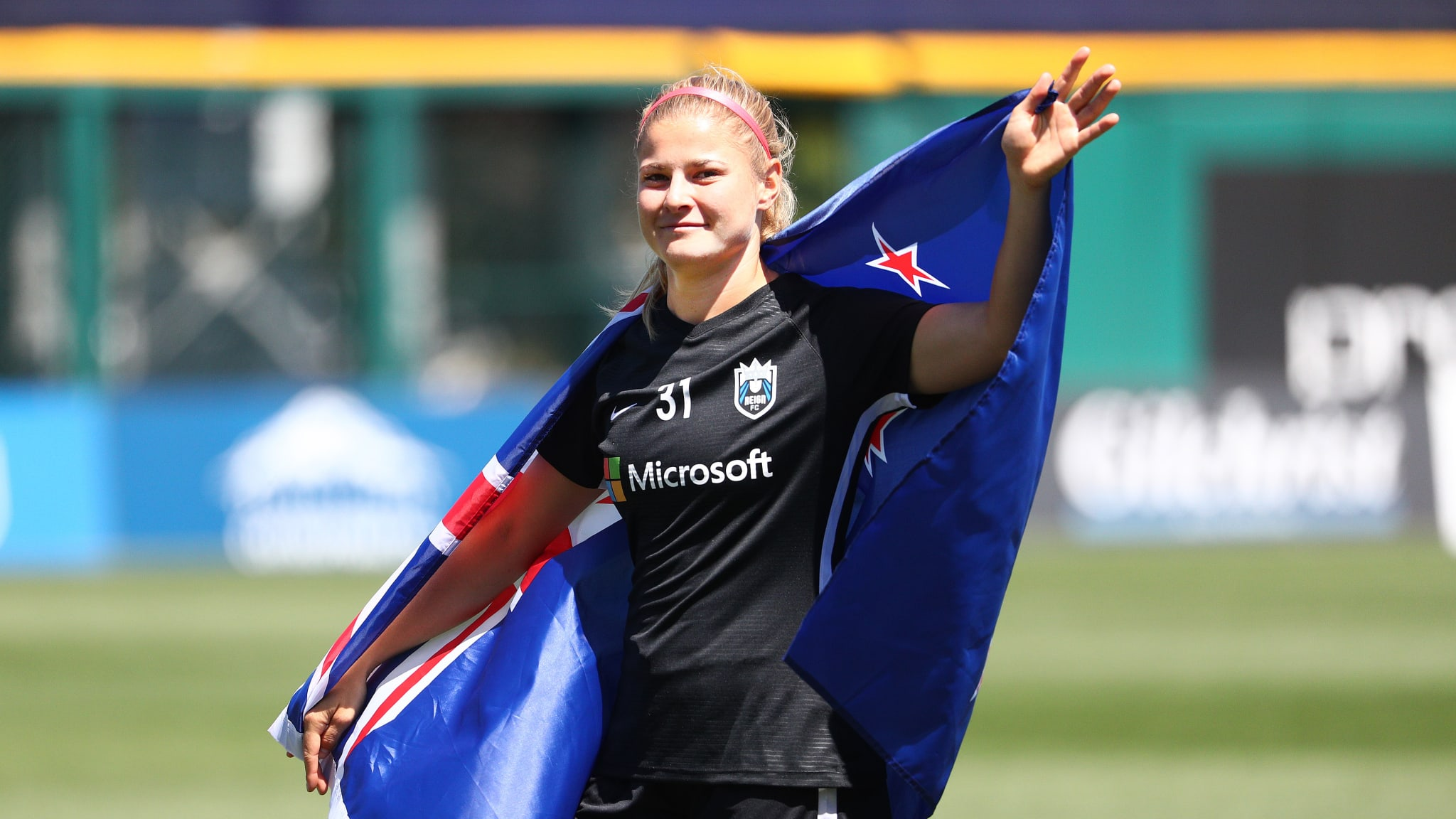 Rosie White #31 of the Seattle Reign FC is honored for representing the New Zealand Women's National Football Team prior to taking on the Chicago Red Stars during their game at Cheney Stadium on July 28, 2019 in Tacoma, Washington.