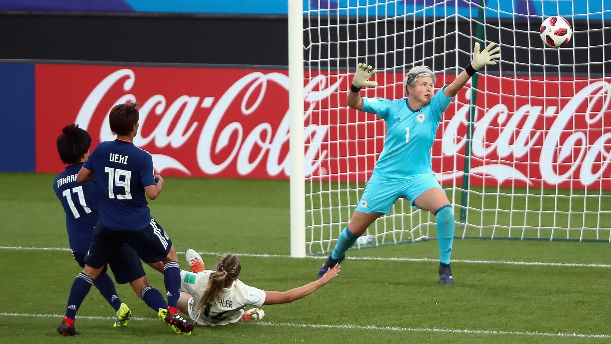 Germany v Japan: Saori Takarada of Japan scores her team's third goal