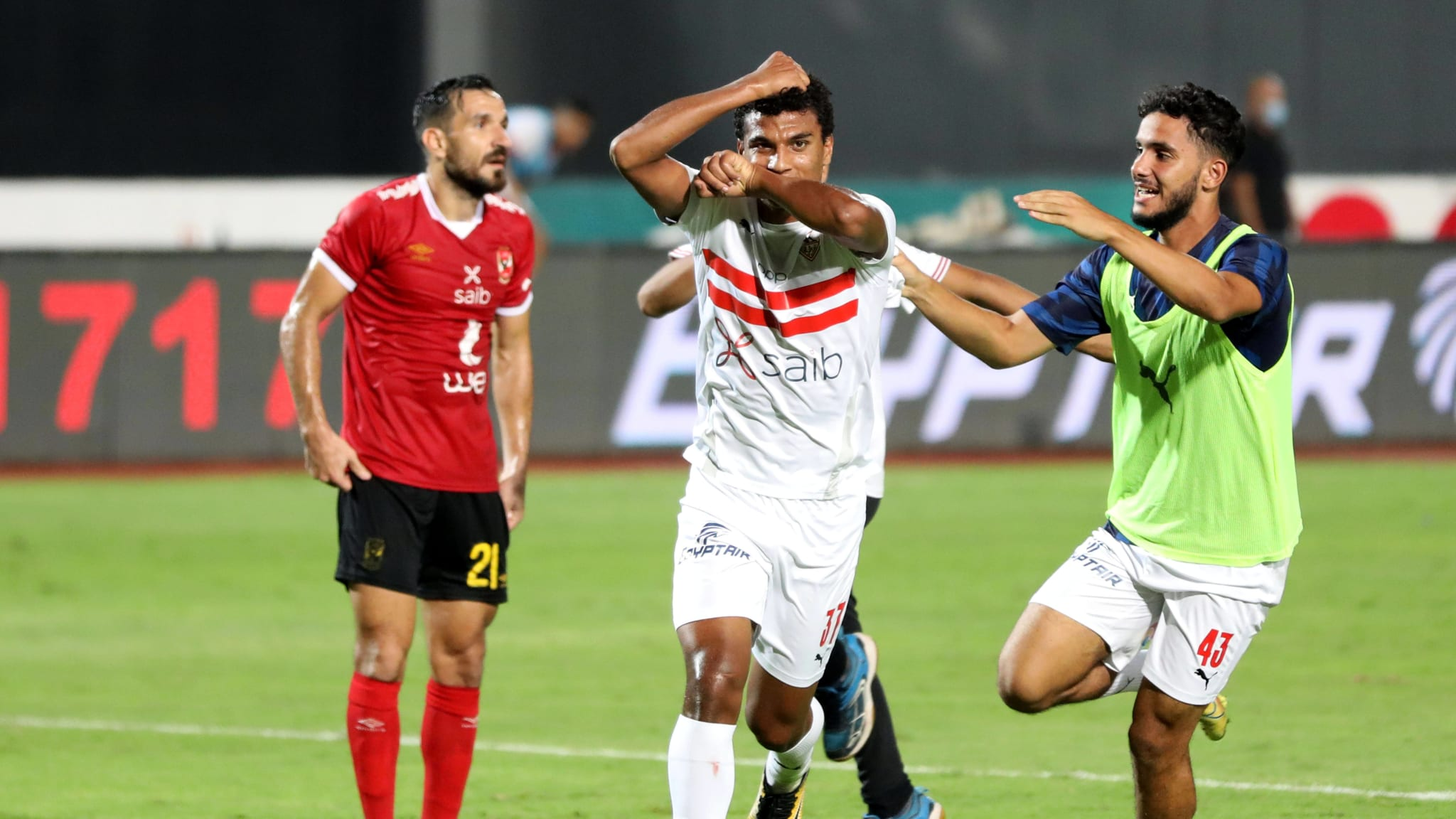 Osama Faisal (C) of Zamalek celebrates during an Egyptian Premier League football match between Zamalek and Al-Ahly in Cairo, Egypt.