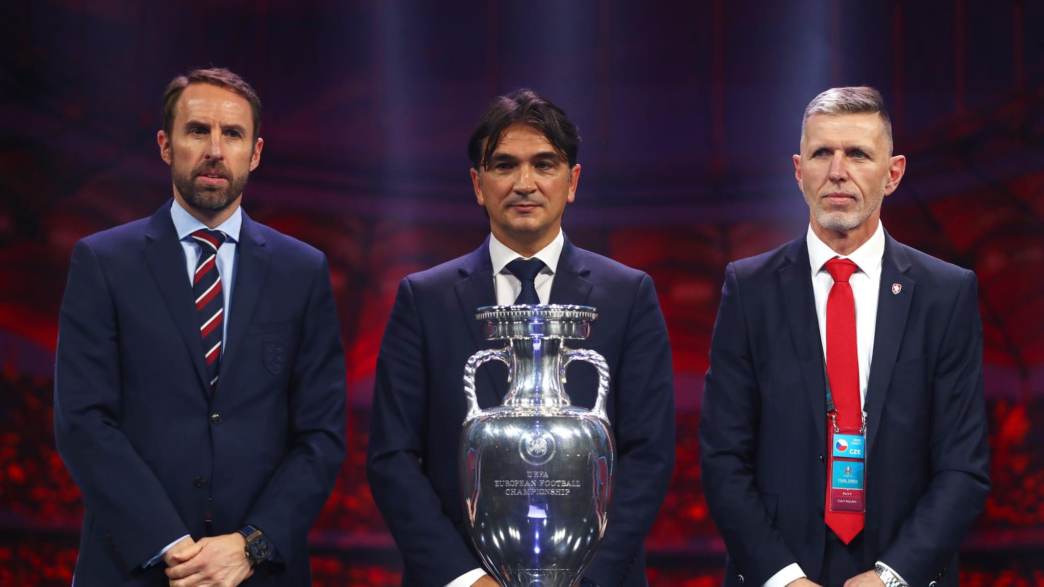 Gareth Southgate, Head Coach of England, Zlatko Dalic, Head Coach of Croatia, and Jaroslav Silhavy, Head Coach of Czech Republic pose