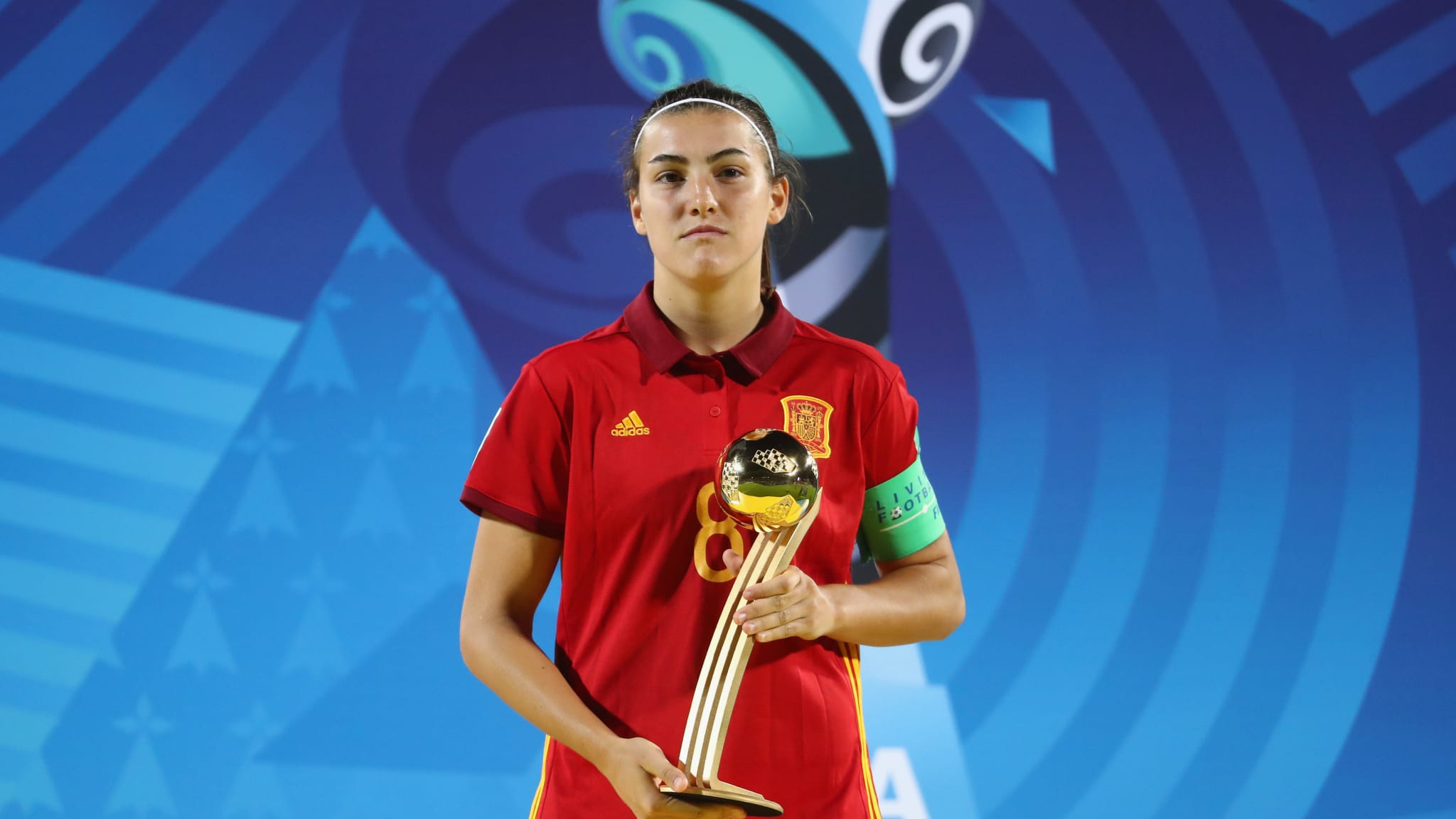 Spain v Japan - FIFA U-20 Women's World Cup France 2018 Final - Patri Guijarro of Spain poses with the adidas Golden Ball award