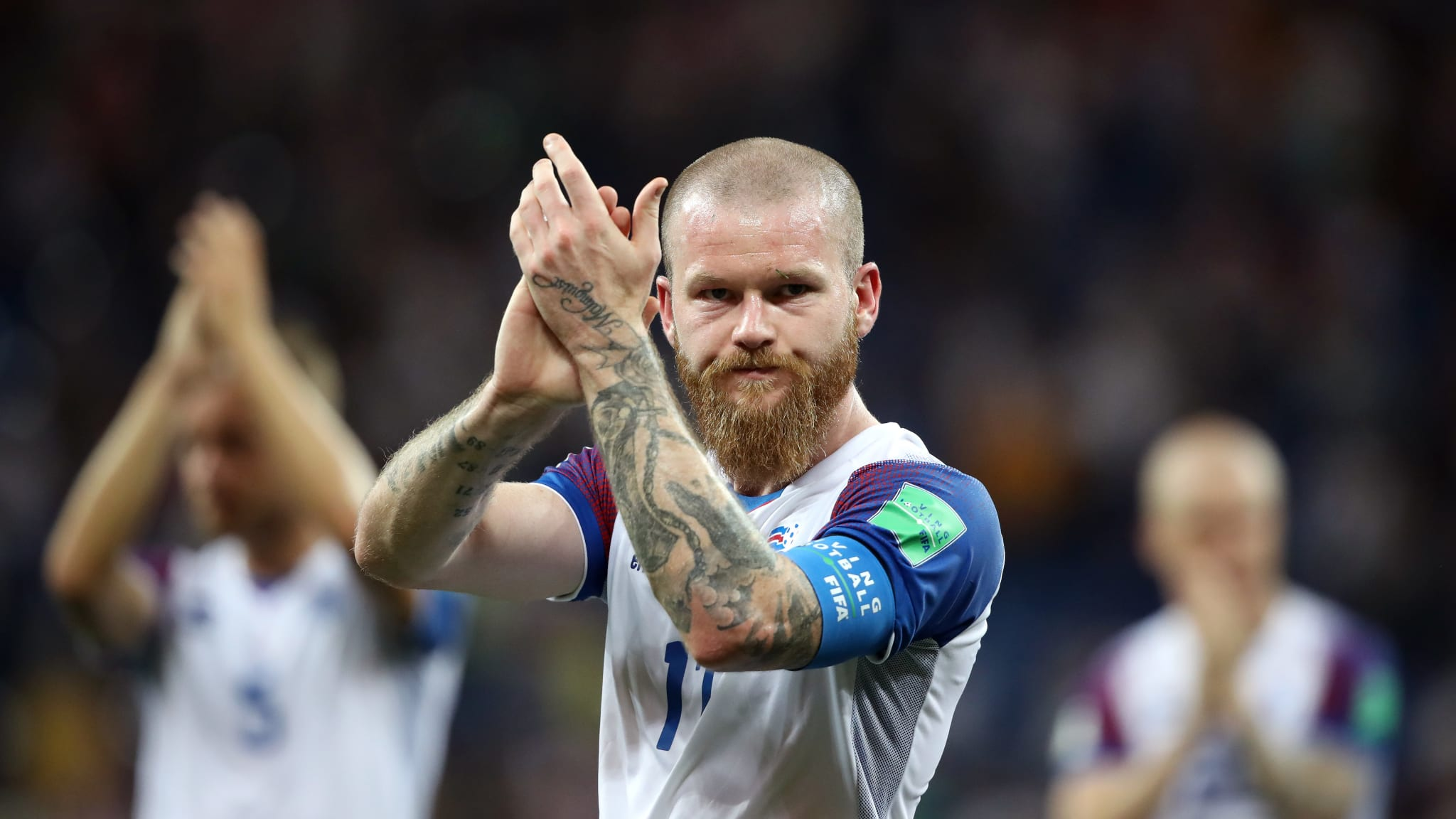 Aron Gunnarsson of Iceland applauds fans after the 2018 FIFA World Cup Russia group D match between Iceland and Croatia at Rostov Arena on June 26, 2018 in Rostov-on-Don, Russia.
