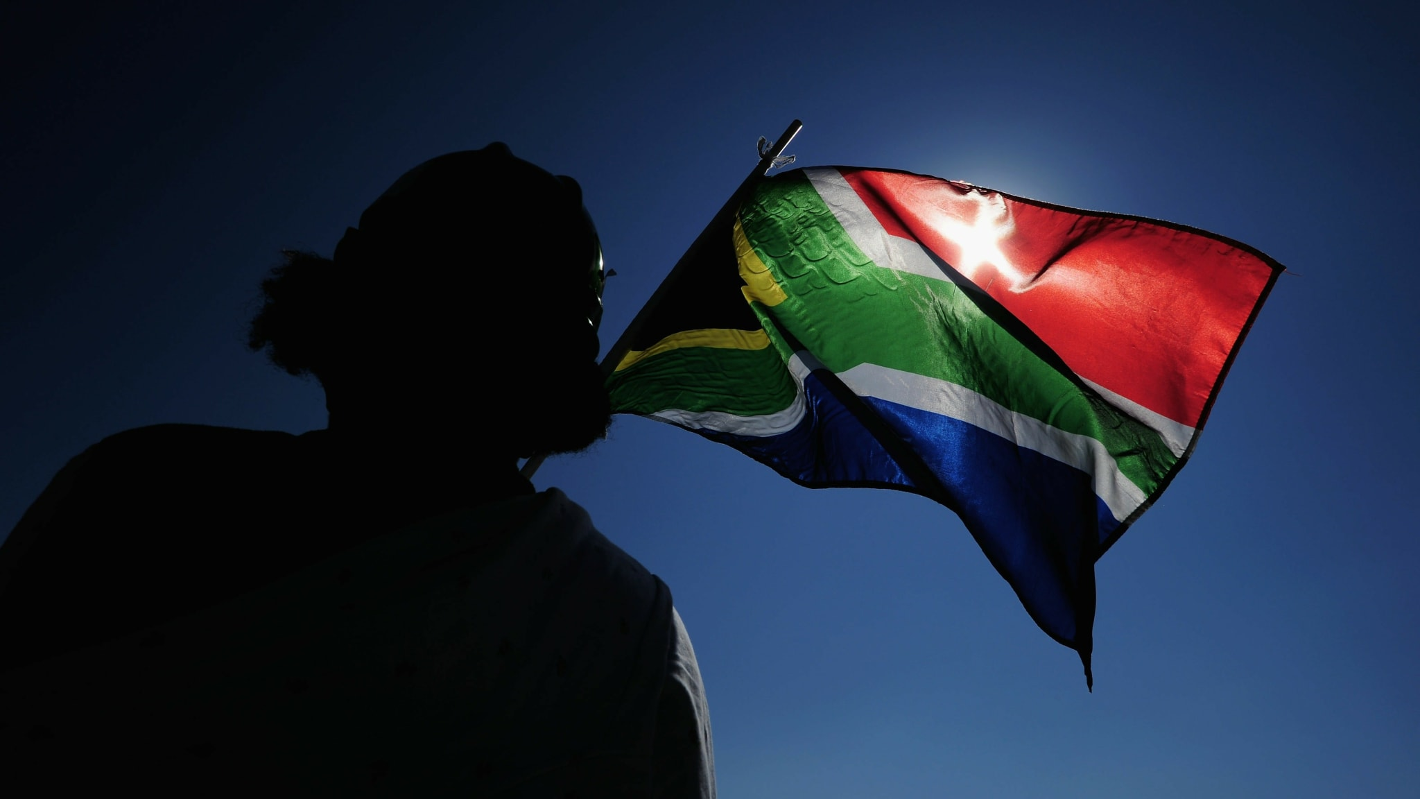 A South Africa flag is waved ahead of the 2010 FIFA World Cup South Africa Group C match between Algeria and Slovenia at the Peter Mokaba Stadium on June 13, 2010 in Polokwane, South Africa.