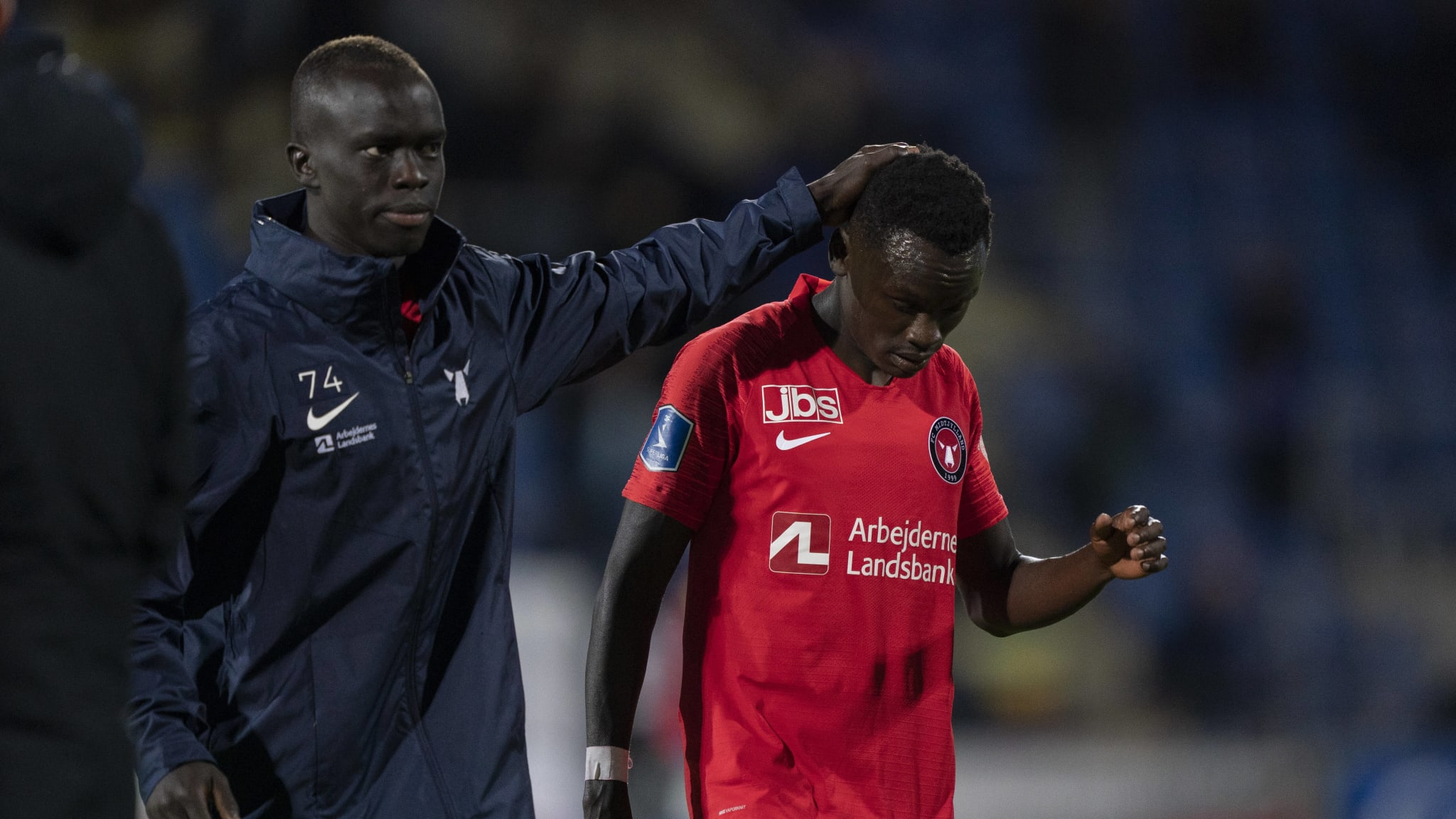 FC Midtjyllands players Awer Mabil and Pione Sisto