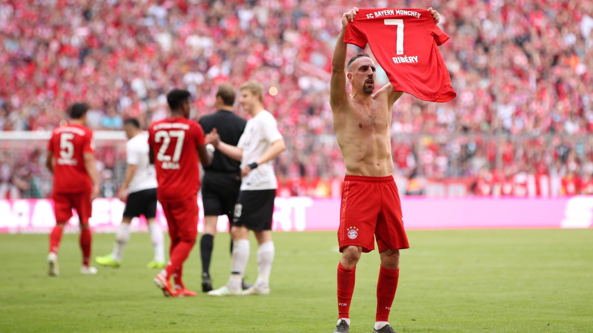 Franck Ribery of Bayern Munich celebrates