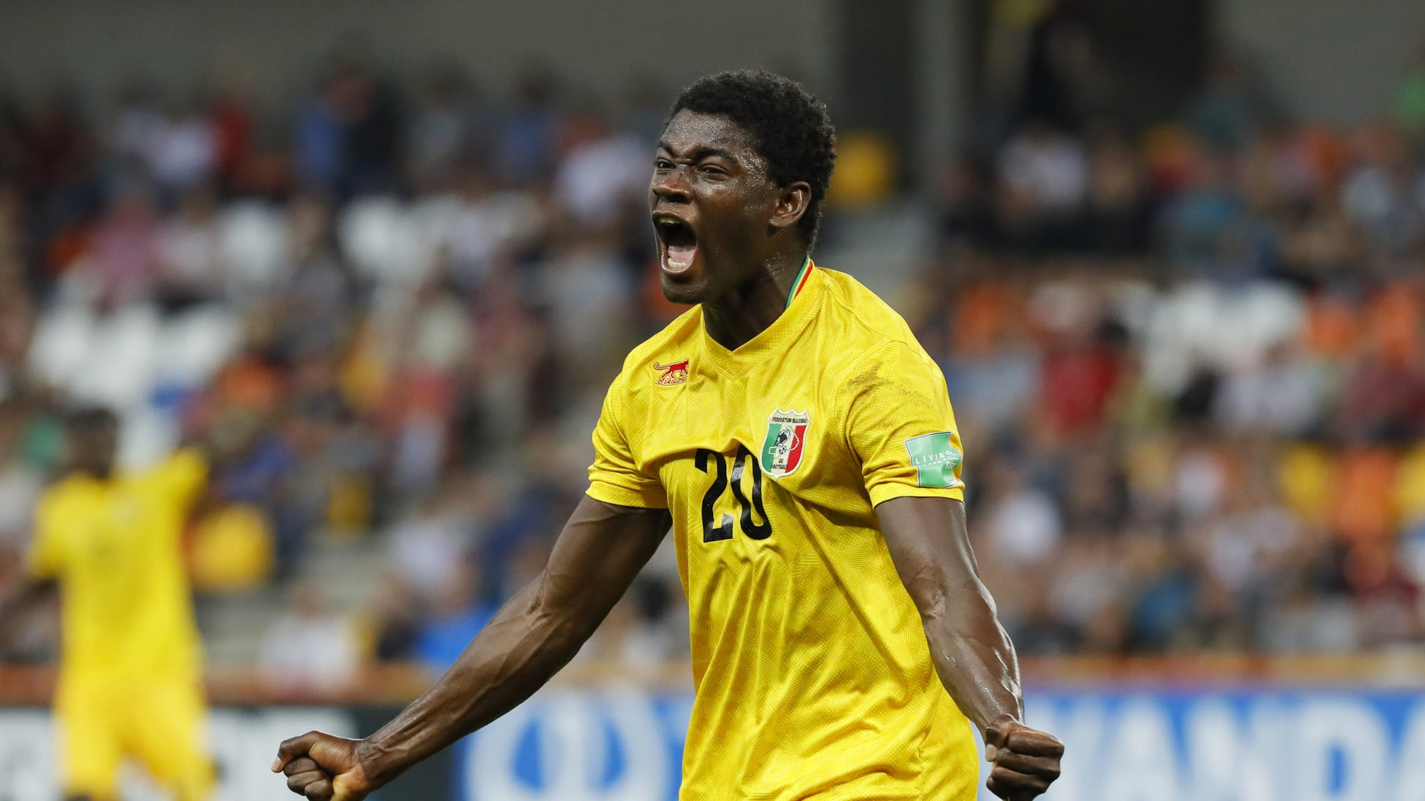 Sekou Koita of Mali reacts as he hits the crossbar with a chance
