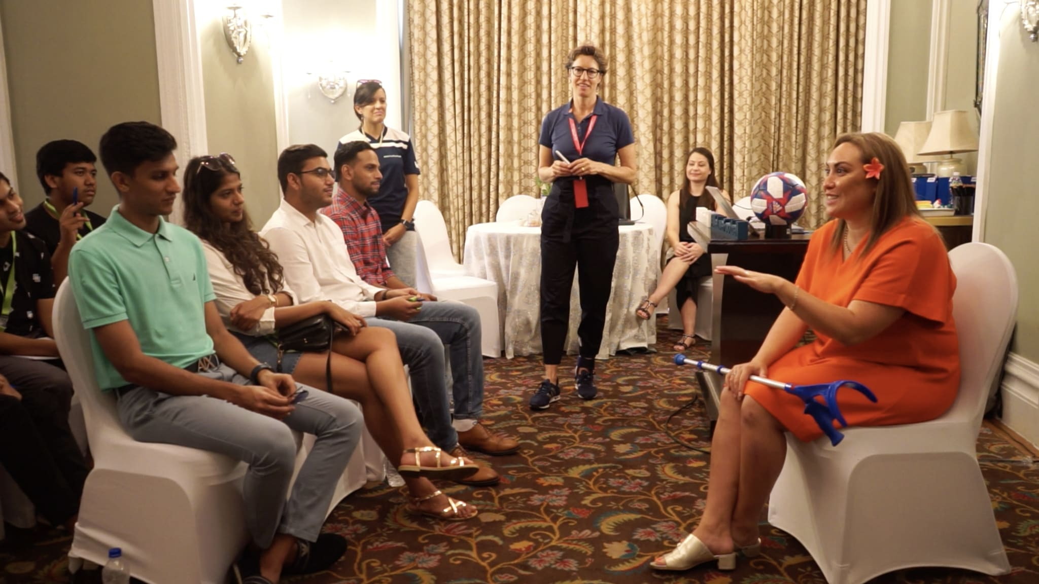 FIFA Fan Movement members interview Sarai Bareman, FIFA's Chief Women's Football Officer, in Mumbai, India.