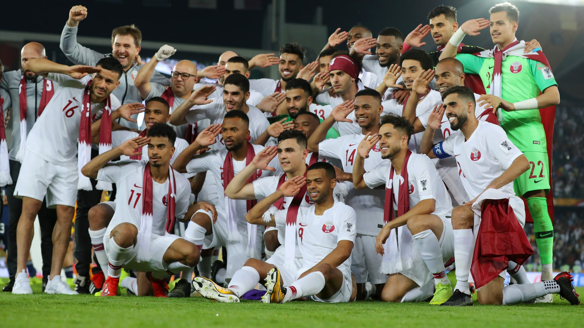 Qatar players celebrate their AFC Asian Cup final win