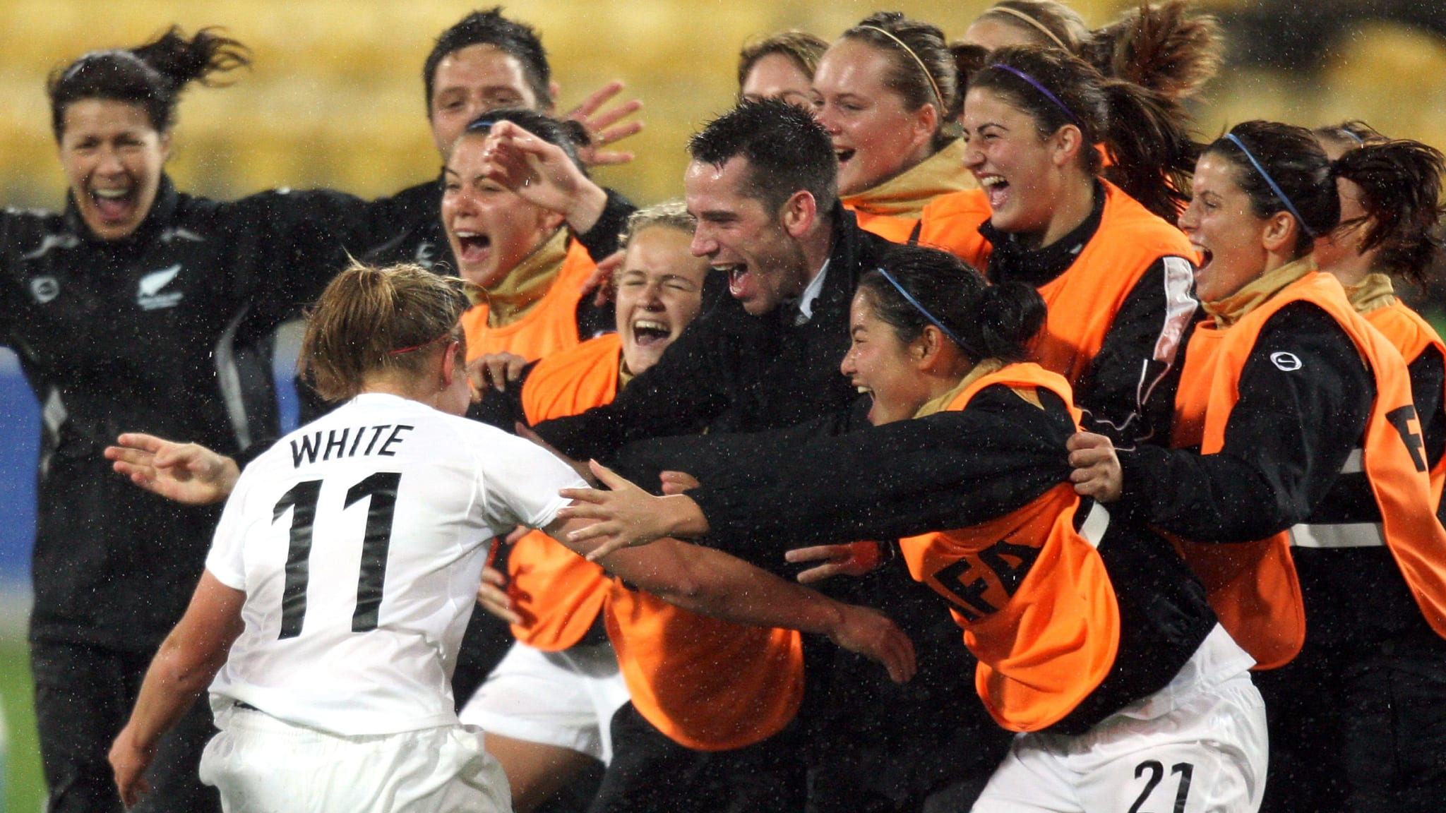Rosie White of New Zealand celebrates her goal during the FIFA U-17 Women's World Cup match between New Zealand and Colombia at the Westpac Stadium on November 4, 2008 in Wellington, New Zealand.