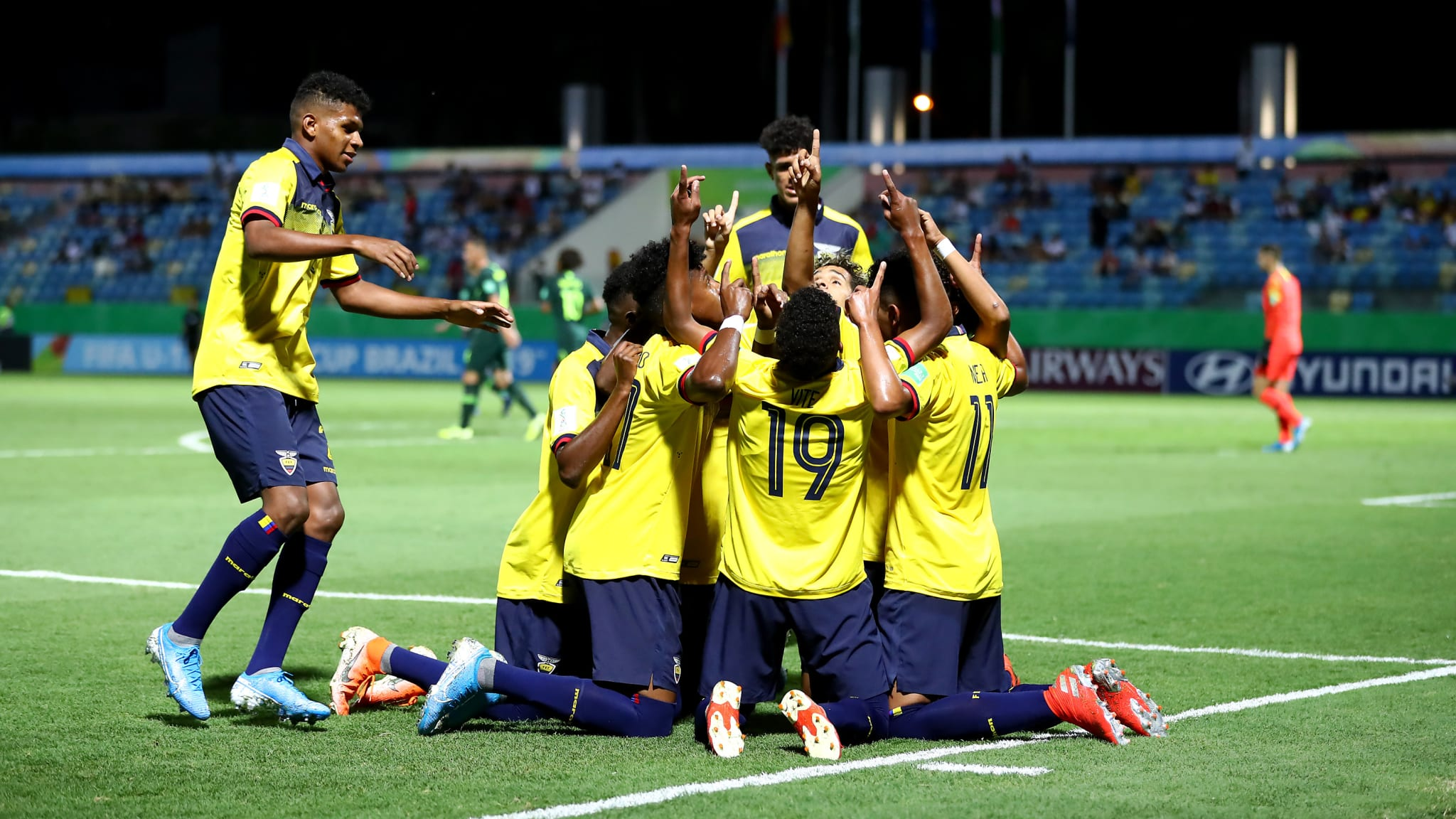Players of Ecuador celebrate their 2nd goal