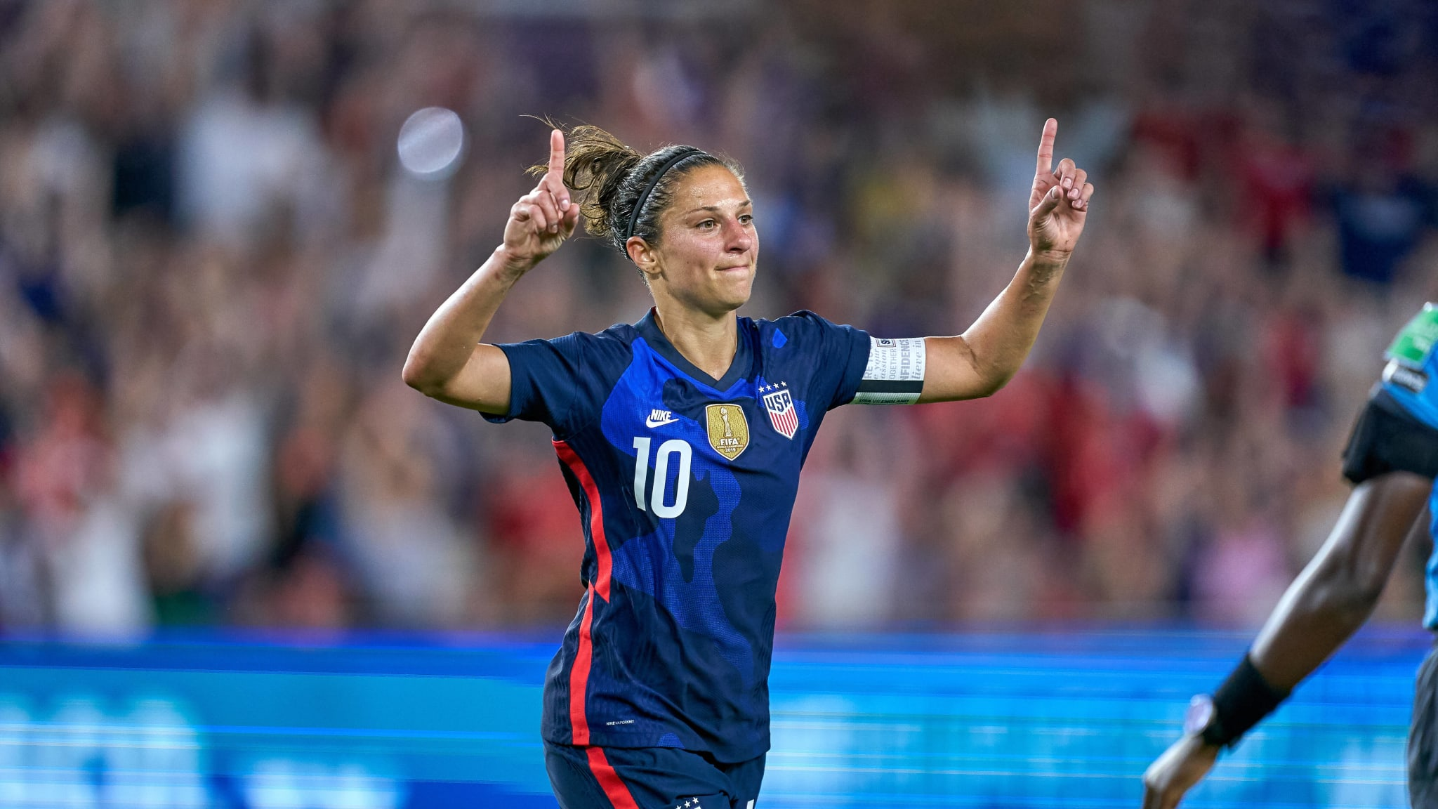 Carli Lloyd celebrates scoring for USA at the 2020 SheBelieves Cup.