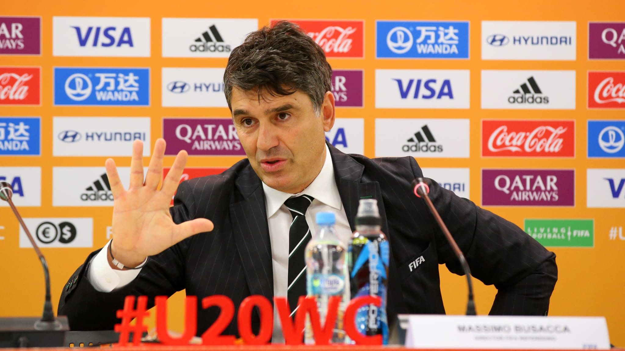 Director of FIFA Refereeing, Massimo Busacca speaks with the media