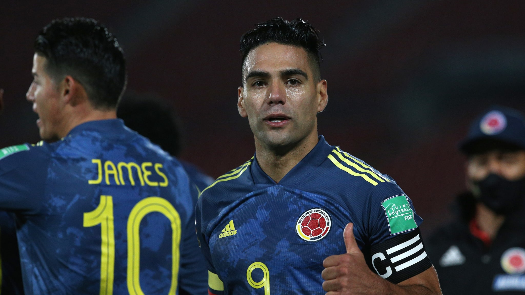 Radamel Falcao Garcia of Colombia celebrates after scoring the second goal of his team