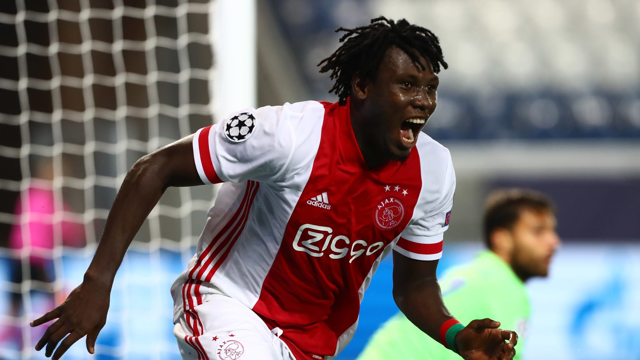 Lassina Traore of Ajax Amsterdam celebrates his goal vs Atalanta BC