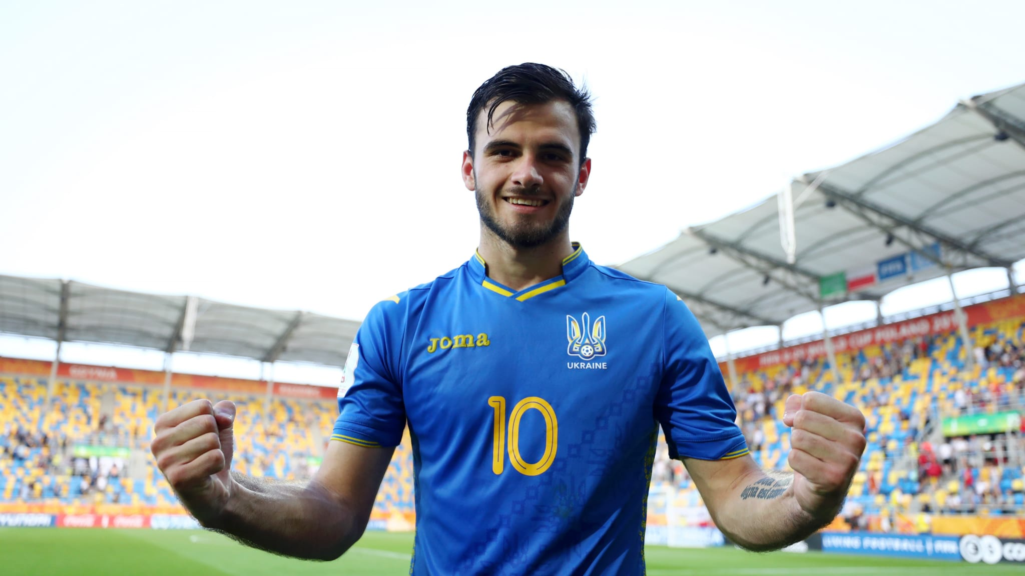 Serhii Buletsa of Ukraine celebrates after winning a semi-final against Italy at the FIFA U-20 World Cup Poland 2019