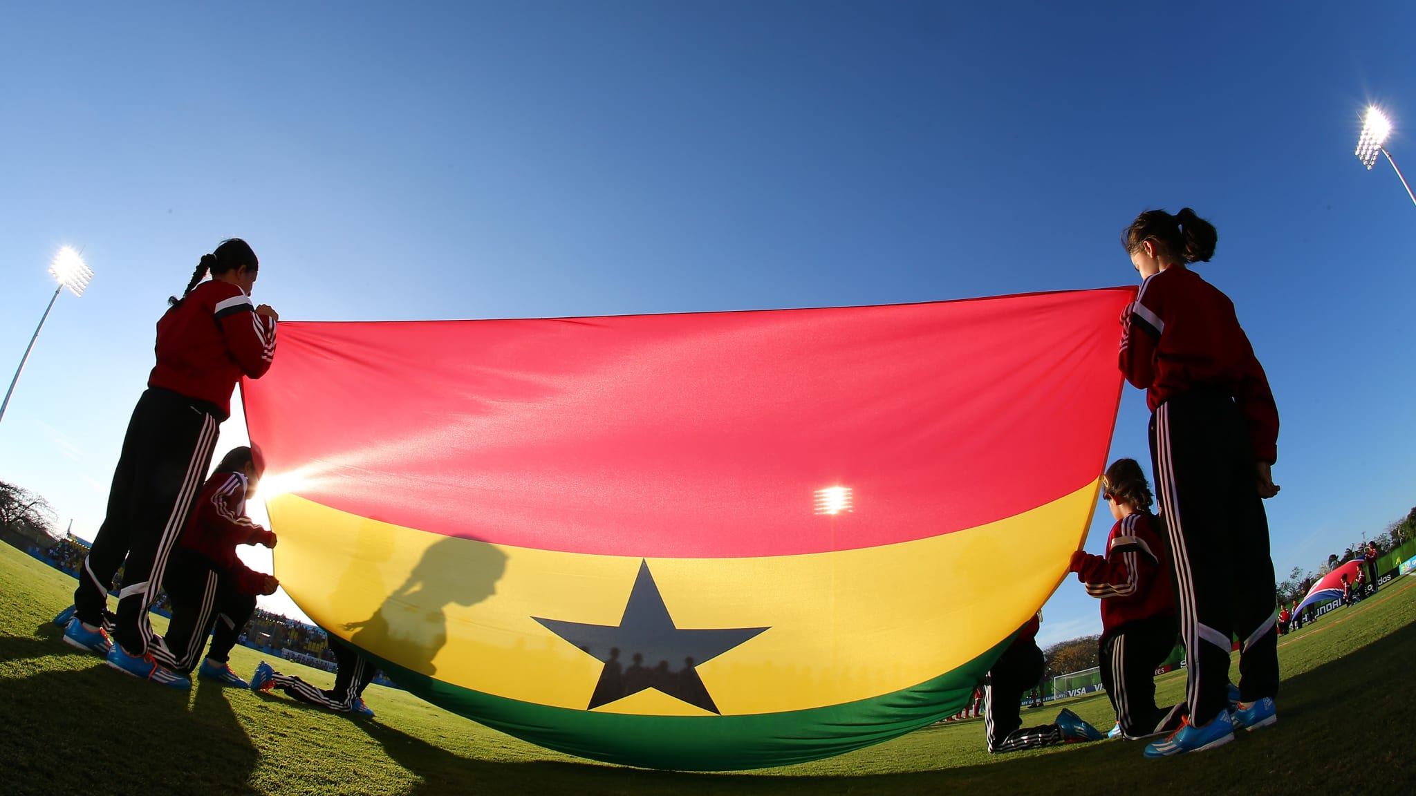 The flag of Ghana is seen before the FIFA U-17 Women's World Cup 2014 group B match between Ghana and Korea DPR.