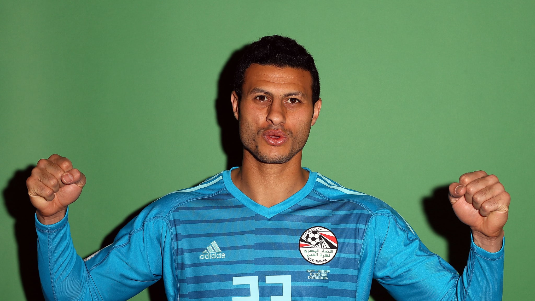 Mohamed El-Shenawy of Egypt poses
