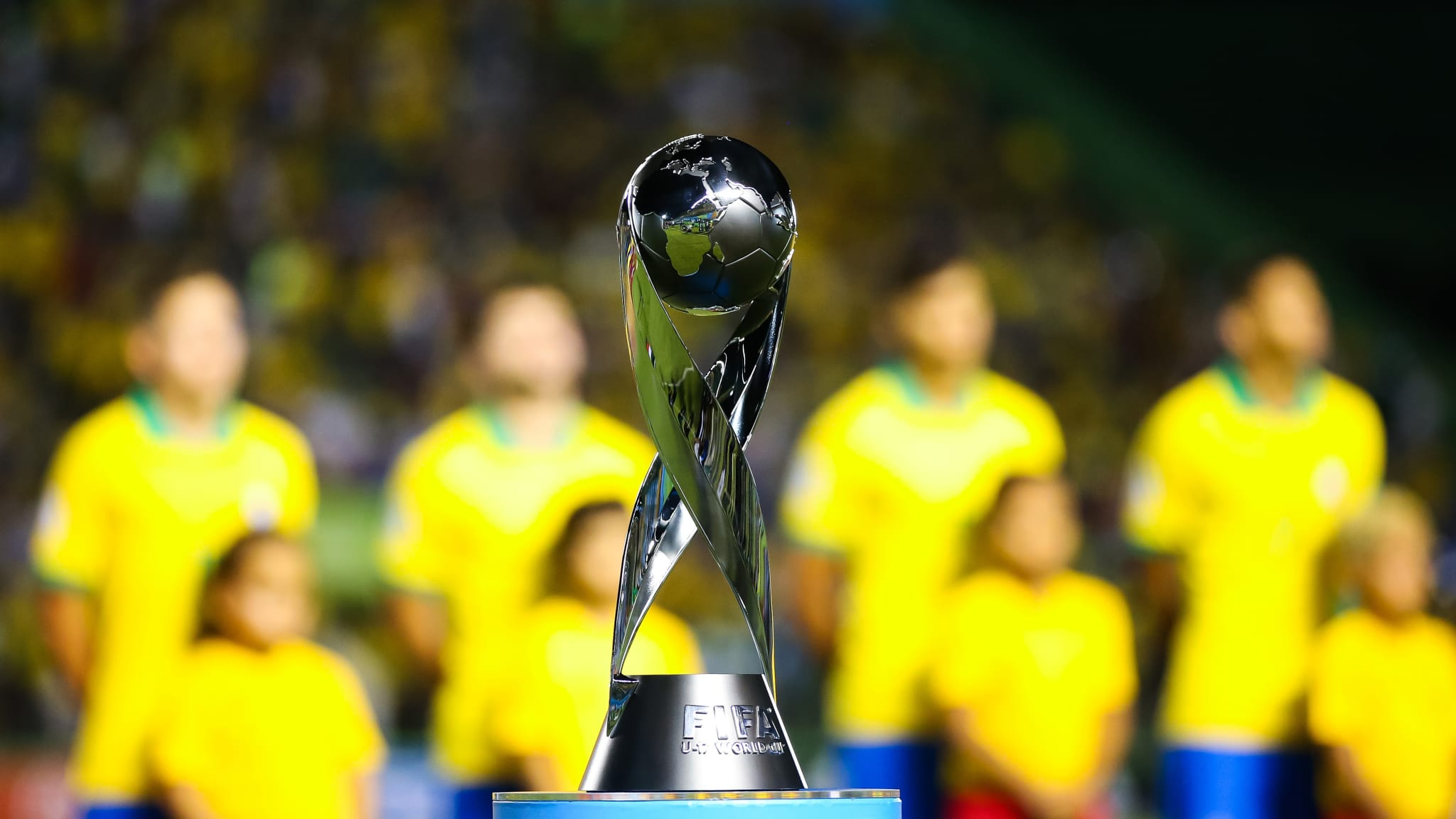 Mexico v Brazil - Final - FIFA U-17 World Cup Brazil 2019 - Detailed view of the World Cup Trophy as the Brazil side line up