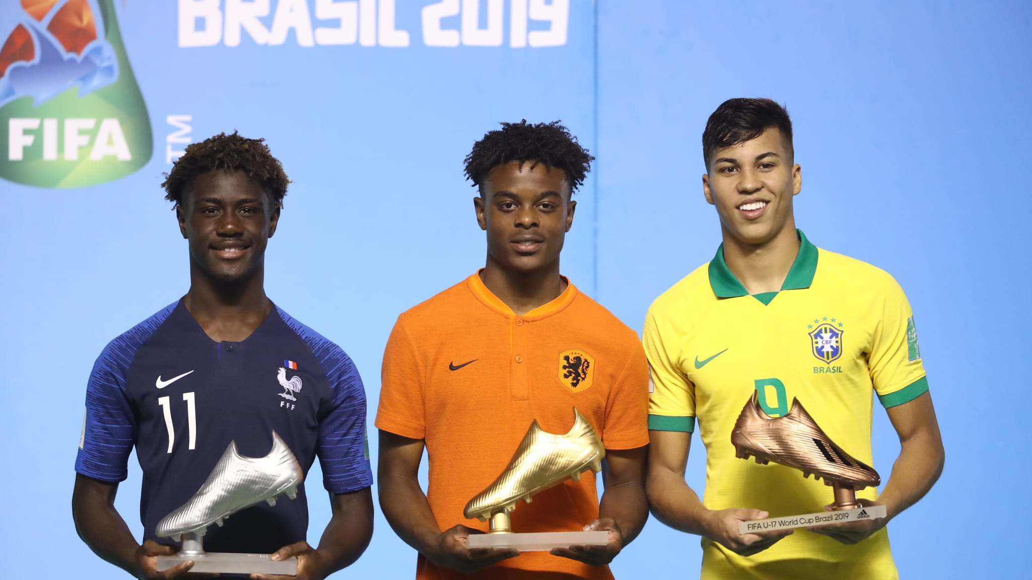 The winners of the Golden Boot award pose for a photo