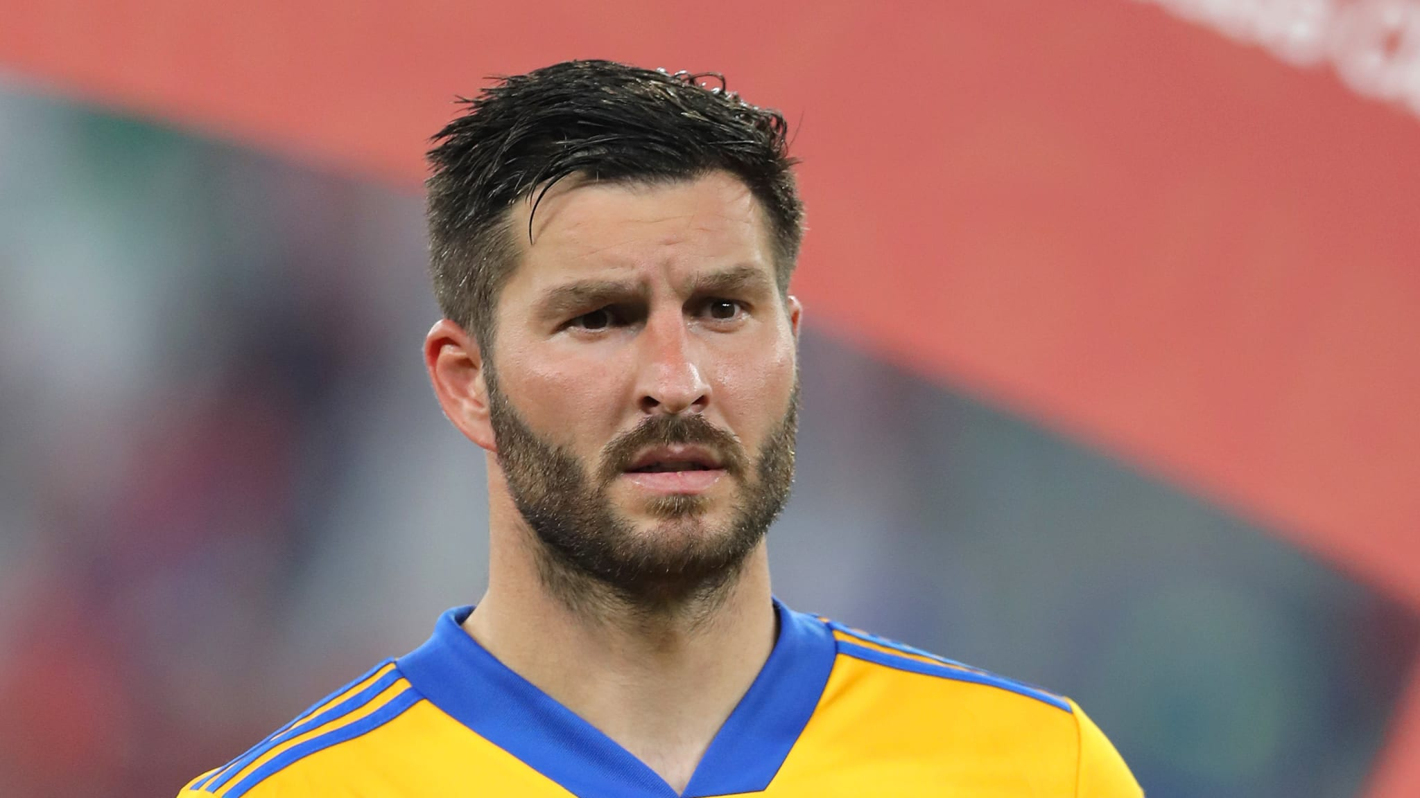 Andre-Pierre Gignac of Tigres UANL poses with the FIFA Club World Cup Qatar 2020 adidas silver ball trophy