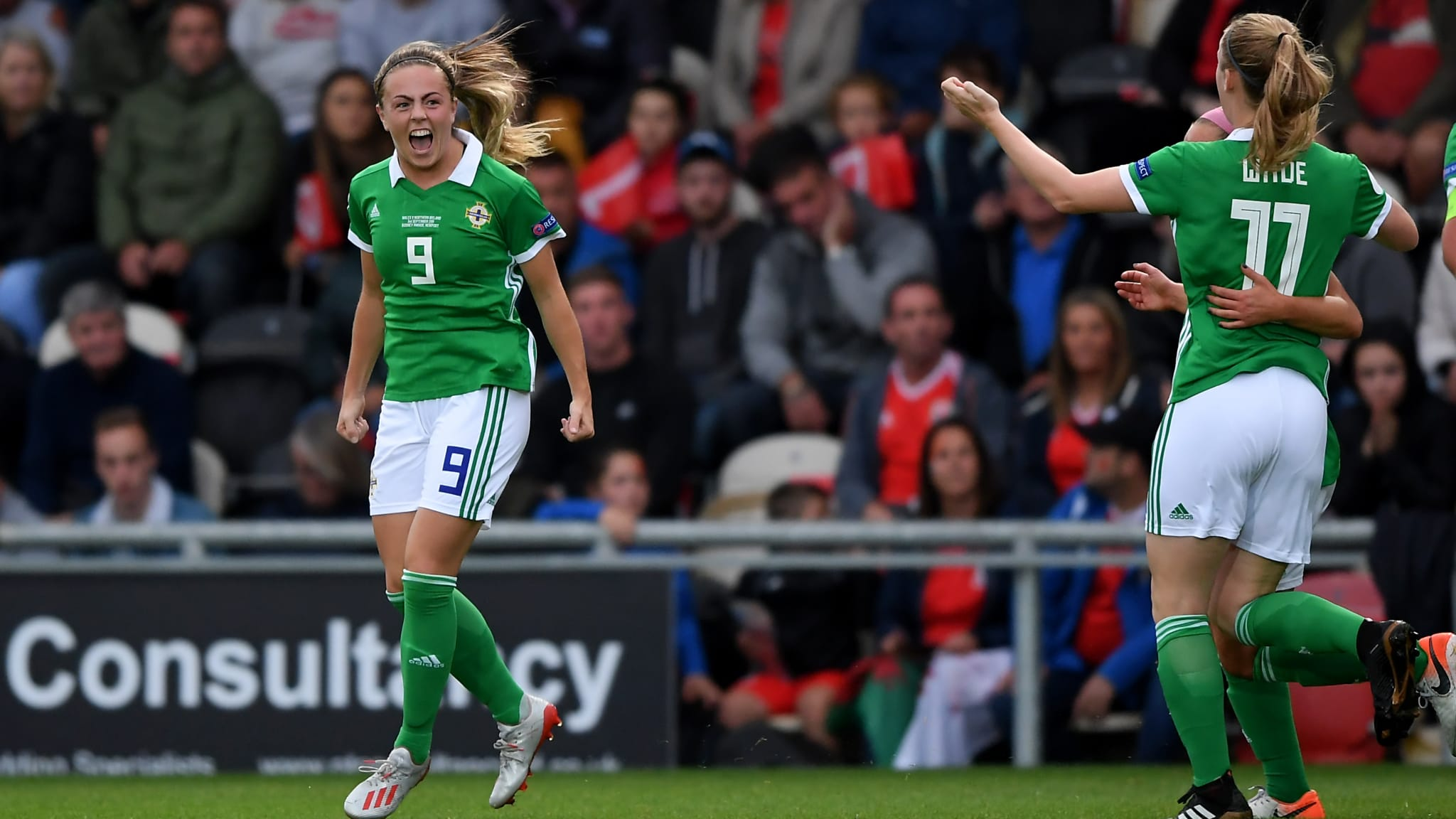 Simone Magill of Northern Ireland celebrates scoring her sides first goal during the UEFA Womens Euro Qualifier match between Wales and Northern Ireland at Rodney Parade on September 03, 2019 in Newport, Wales.