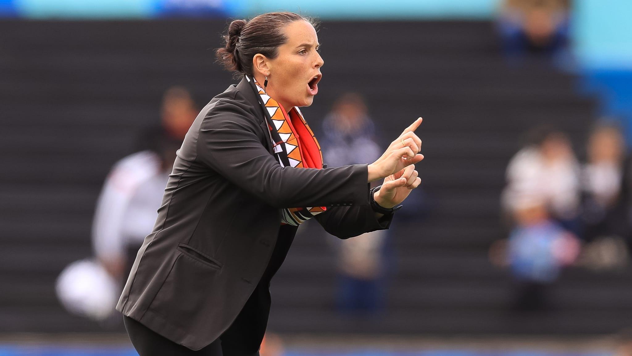 Head coach Rhian Wilkinson of Canada gestures