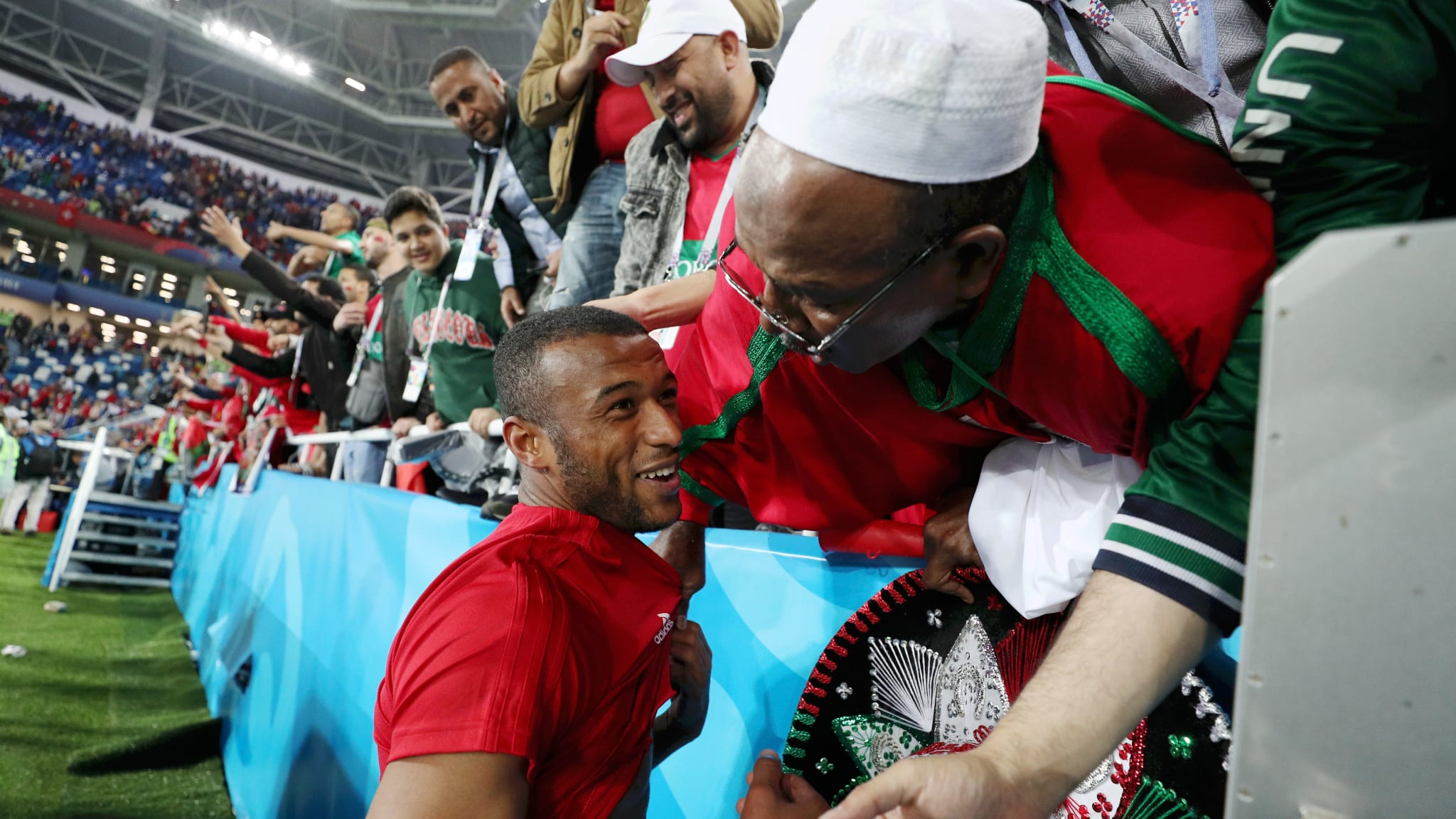 Spain v Morocco: Ayoub El Kaabi is congratulated by fans