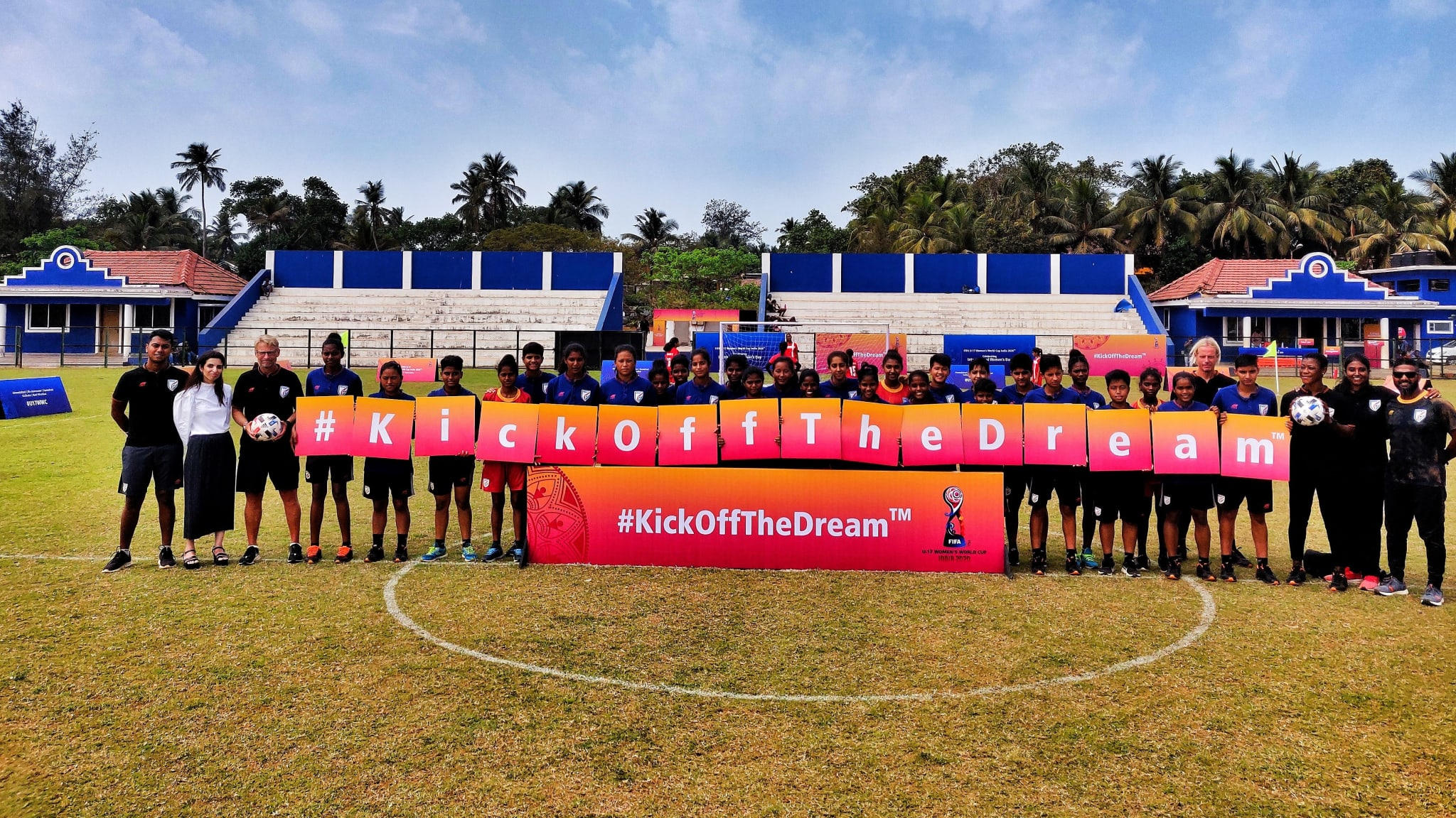 India U-17 women pose with the tournament slogan, 'Kick Off The Dream', ahead of the FIFA U-17 Women's World Cup India 2020™