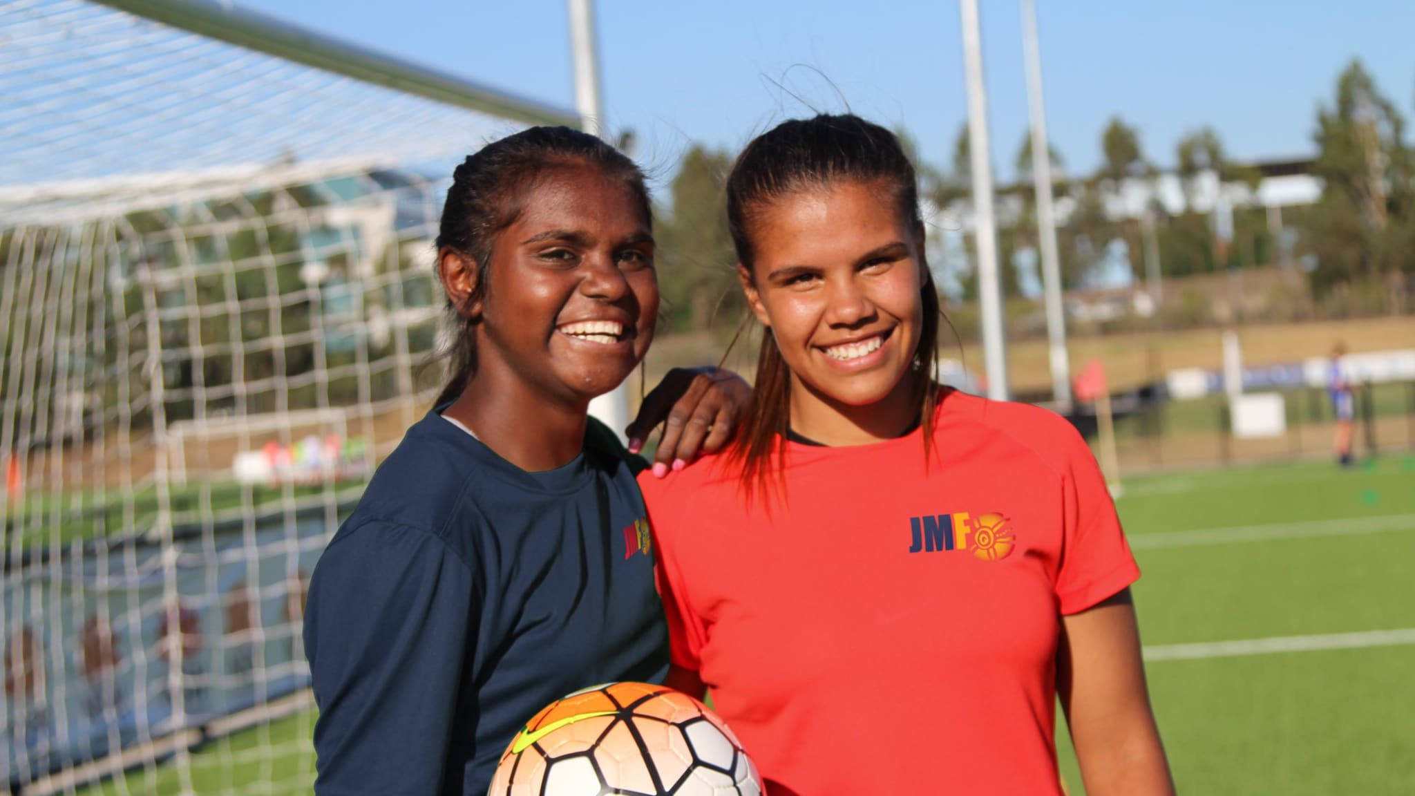 Shadeene Evans (L) and Jada Whyman - John Moriarty Football Indigenous Football Week ambassadors
