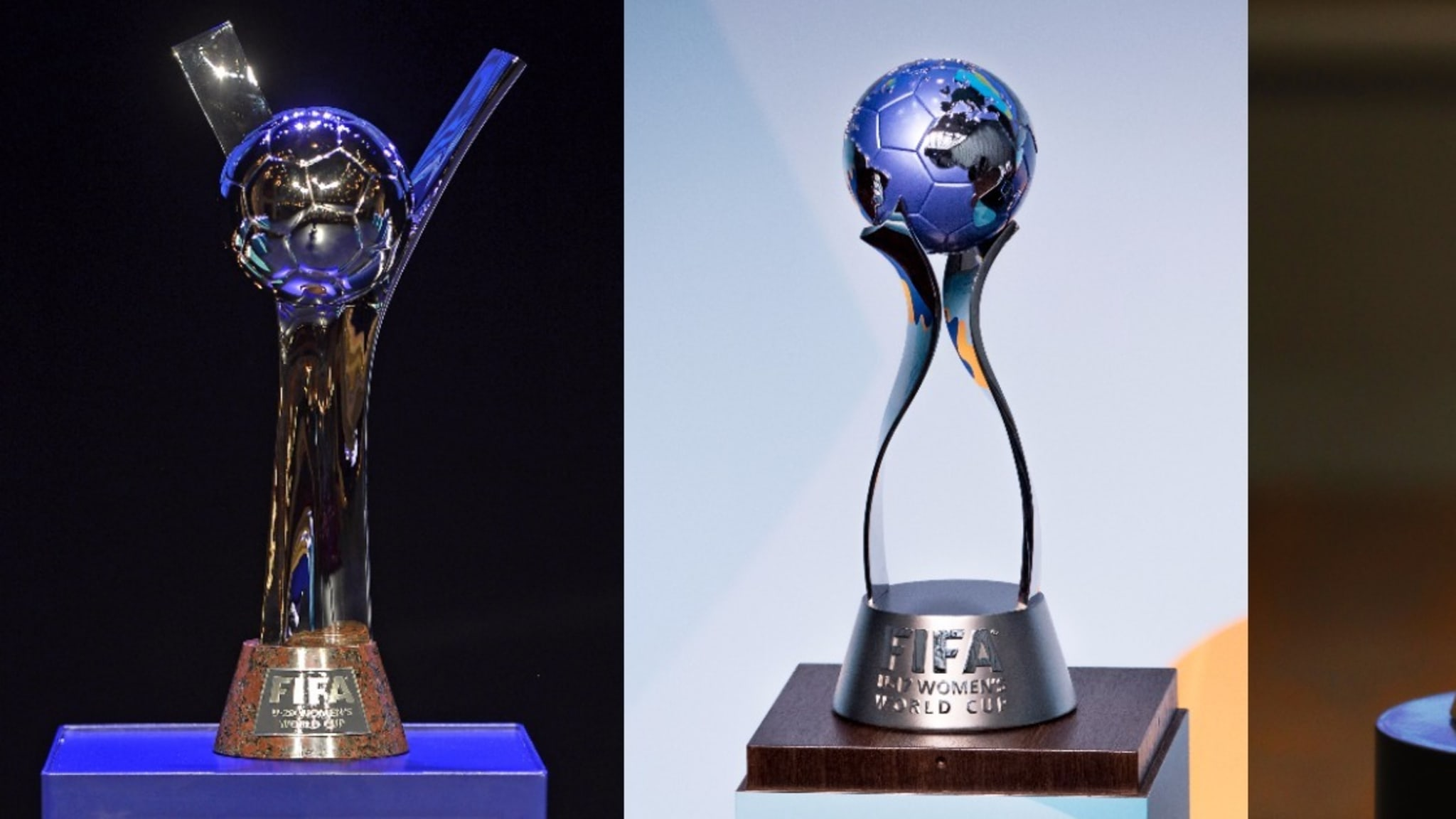 The FIFA U-17 Women's World Cup, FIFA U-20 Women's World Cup and FIFA Futsal World Cup trophies.